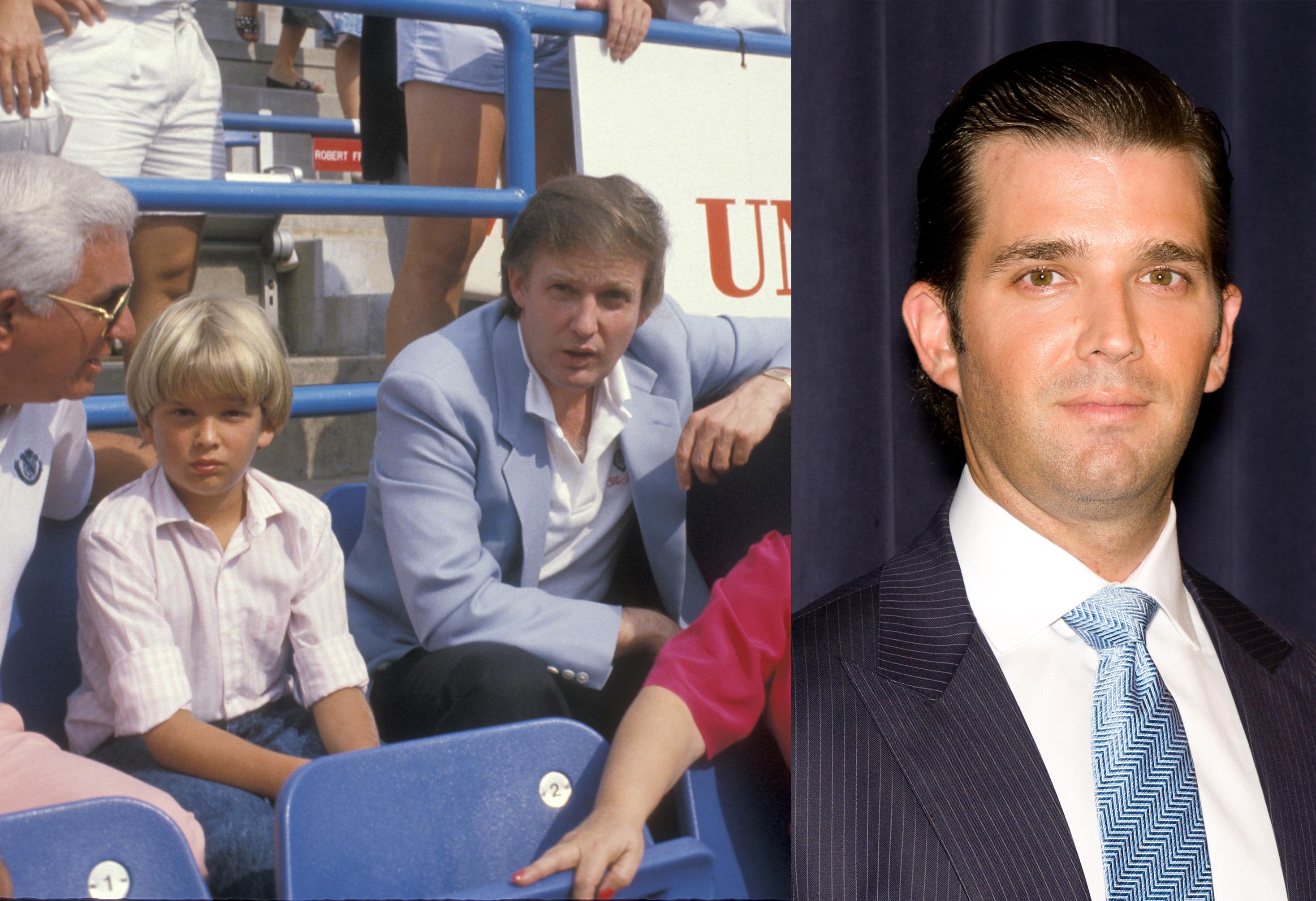 <i>Left:</i> Donald Trump Jr. and Donald Trump in 1988; <i>Right:</i> Donald Trump Jr. in New York City in April 2011.