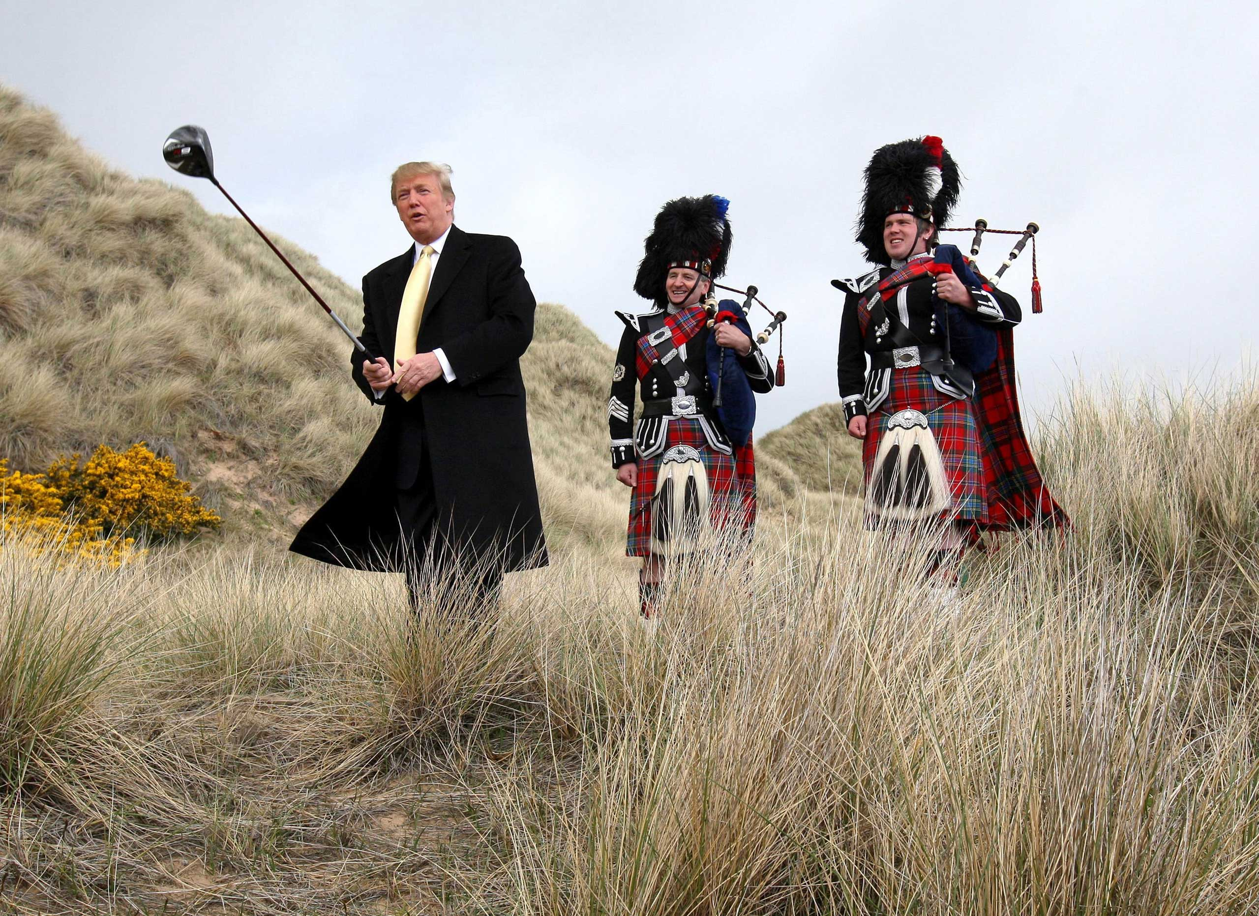 Donald Trump swinging a golf club on the Menie Estate in northeast Scotland in 2010.