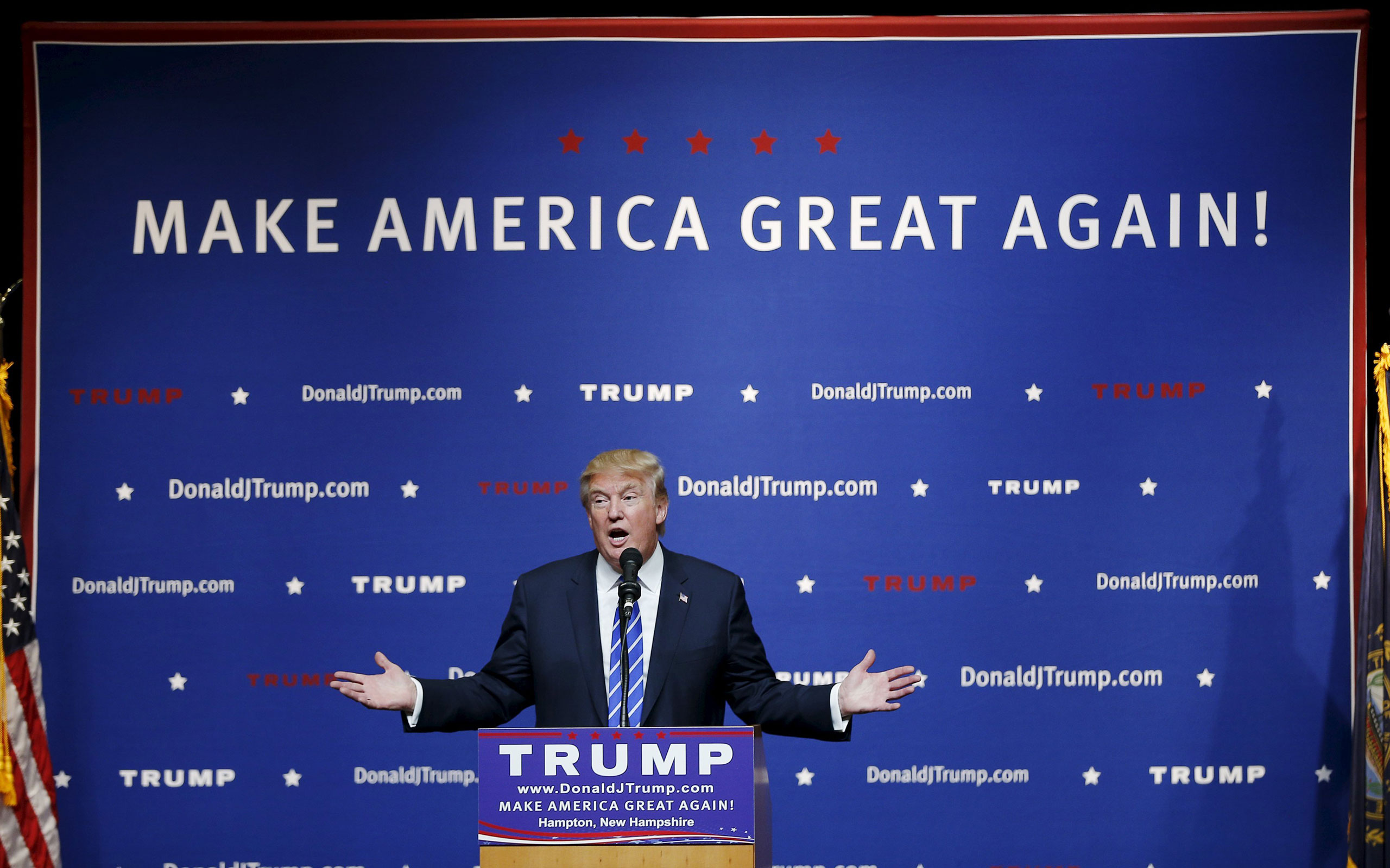 Donald Trump speaks at a campaign rally in Hampton, N. H., on Aug. 14, 2015.