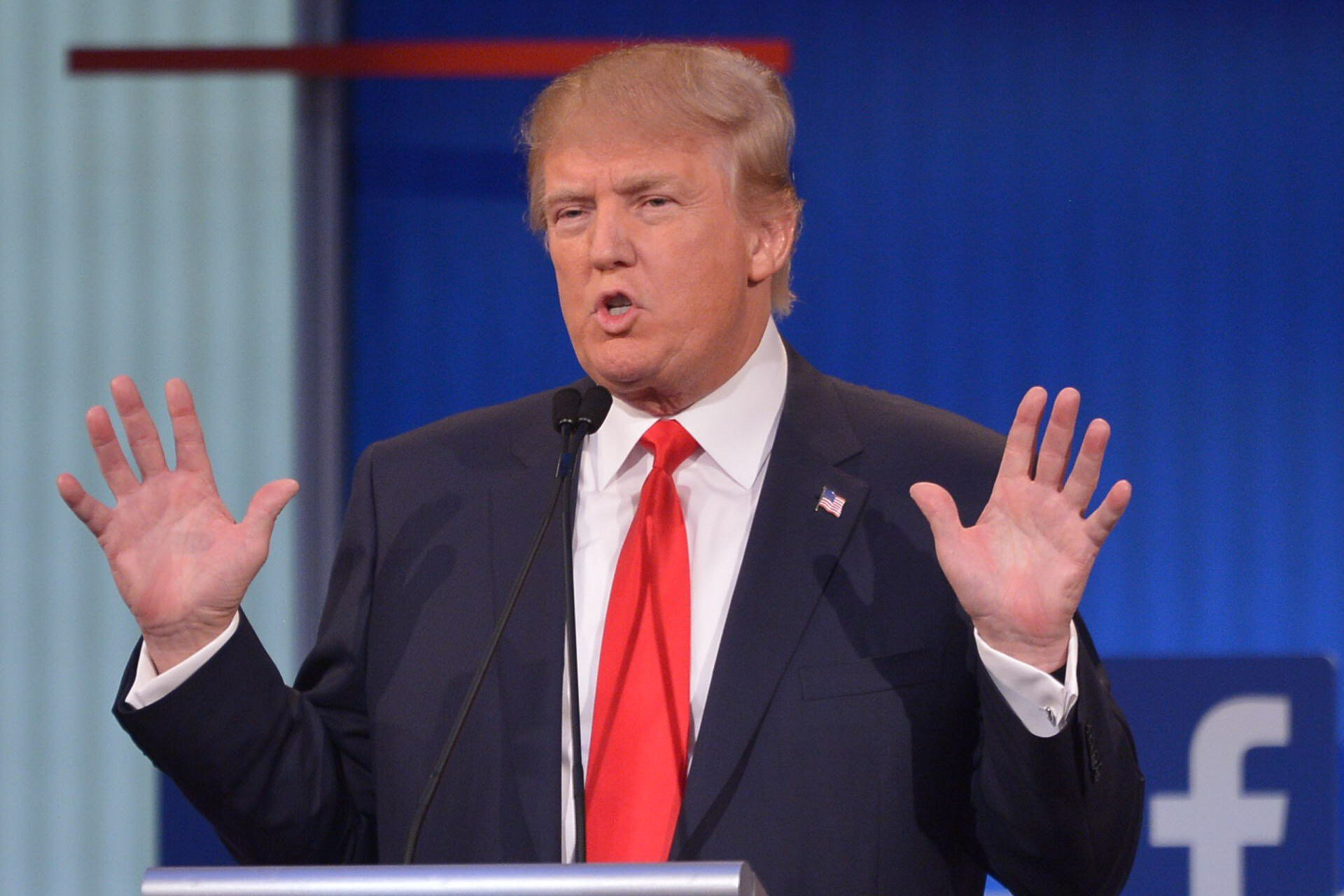 Republican presidential hopeful Donald Trump speaks during the prime time Republican presidential primary debate on August 6, 2015 in Cleveland.