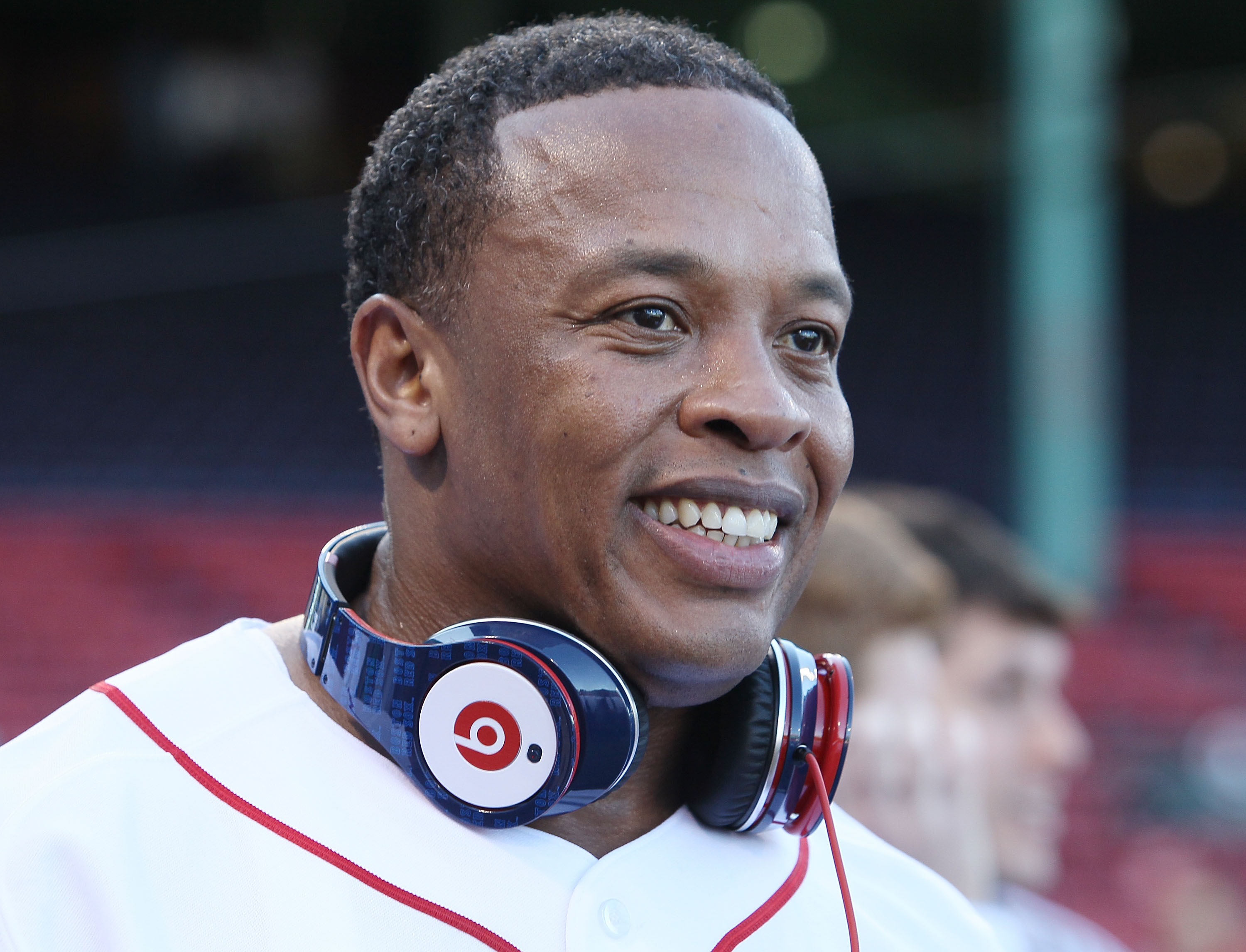 Producer and musician Dr. Dre is on the field before the Boston Red Sox take on the the New York Yankees on April 4, 2010.