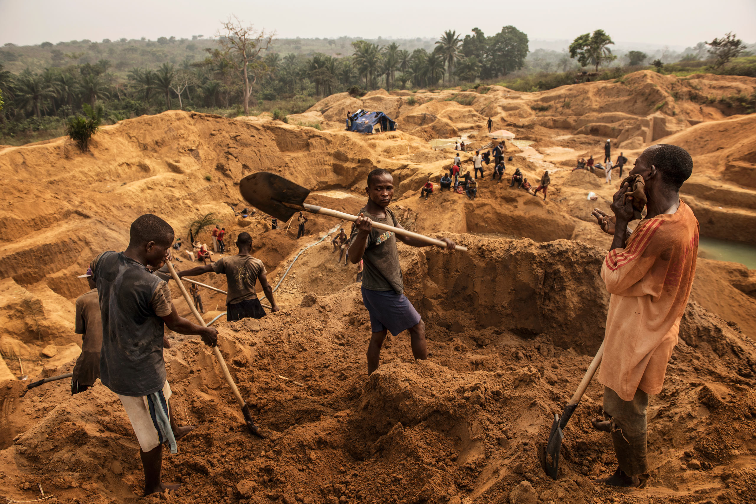 Congolese miners                                   working one of                                   the thousands of                                   artisanal mines                                   that cover the                                   southwest Democratic Republic of Congo. Aug. 9, 2015.                                                                       Diamond buyers and manufacturers in the west are trying to find a way to make the diamond industry cleaner and more responsibly-sourced, in order to combat human rights abuses, child labor, the degradation of the environment, and unfair trade practices.