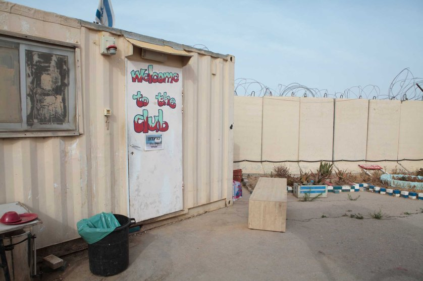 A small trailer used as a clubhouse by soldiers in the Sky Rider unit, on an Israeli military base next to the Erez Crossing on, the border with Gaza. u2028