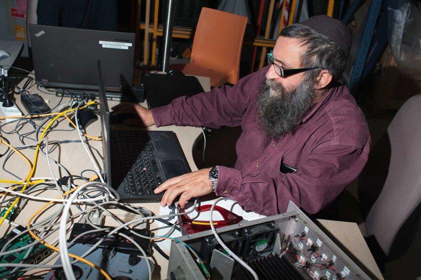 An employee working at the Aeronautics factory in Yavne, Israel.
