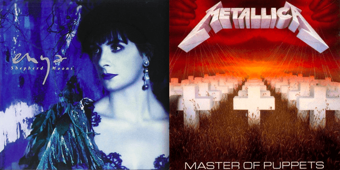The album cover designers for Enya's Shepherd Moons and Metallica's Master of Puppets may have subconsciously chosen colors that matched the emotional qualities of the respective artists' music.