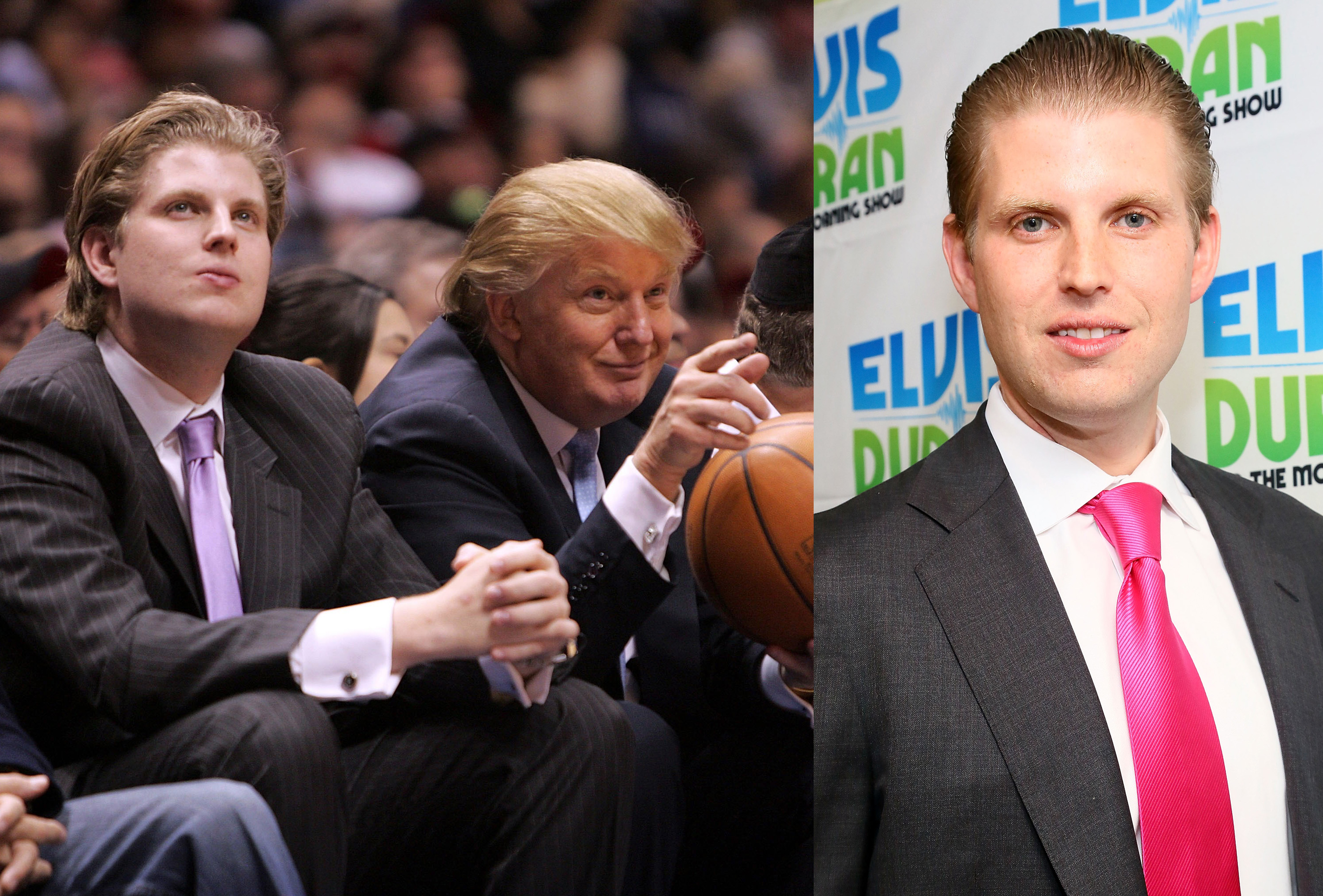 <i>Left:</i> Eric Trump and Donald Trump in 2007; <i>Right:</i> Eric Trump in New York City in October 2013.