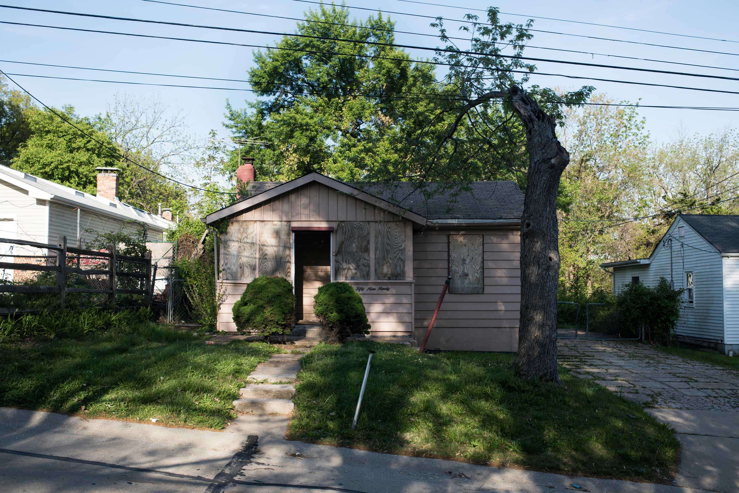 An abandoned house on Dupree Avenue that has been a point of contention for neighbors because it is used by local youth as a hang out to drink, do drugs, and play with their guns.