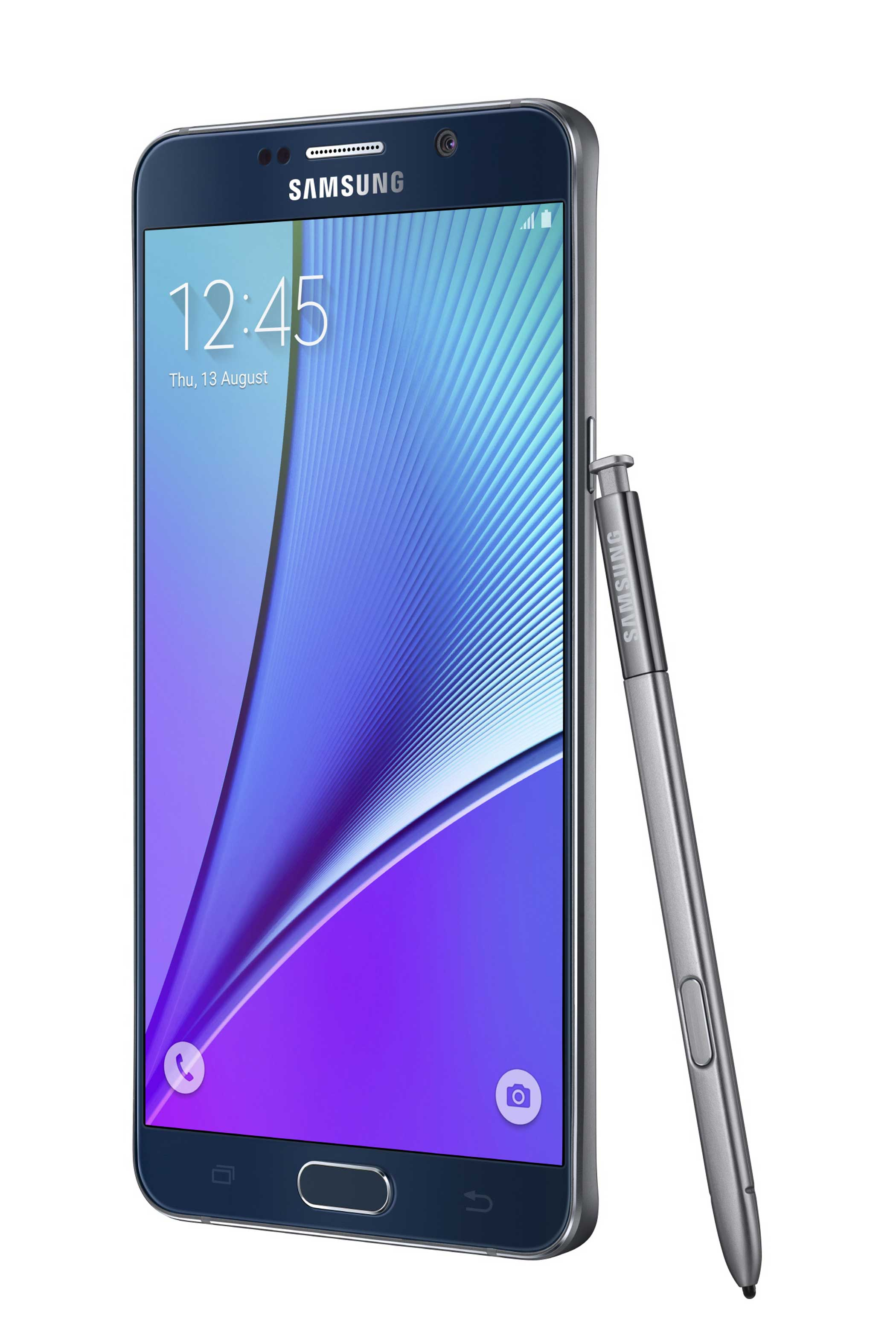 <b>Galaxy Note5</b>: The new Note 5 has a smaller frame than the Note4 while maintaing the same screen size. Owners can also use the Note's signature pen to write on the screen without unlocking the device.