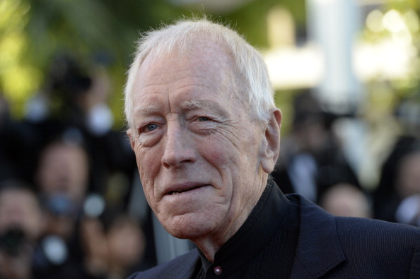 Swedish actor Max von Sydow poses on May 24, 2013 as he arrives for the screening of the film  The Immigrant  presented in Competition at the 66th edition of the Cannes Film Festival in Cannes.