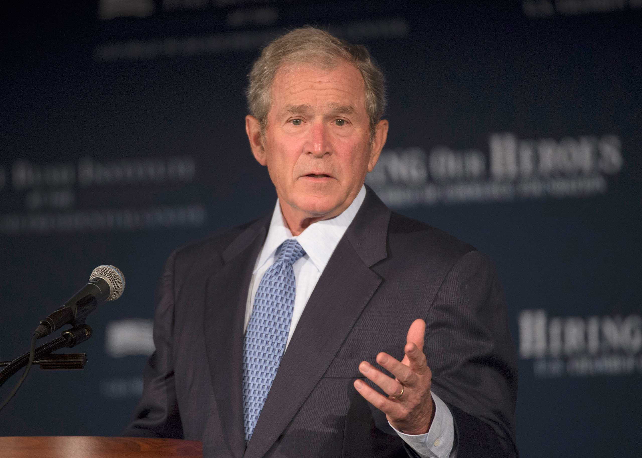 Former President George W. Bush speaks at the U.S. Chamber of Commerce Foundation's Hiring Our Heroes program and the George W. Bush Institute's Military Service Initiative national summit, June 24, 2015, at the U.S. Chamber of Commerce in Washington.