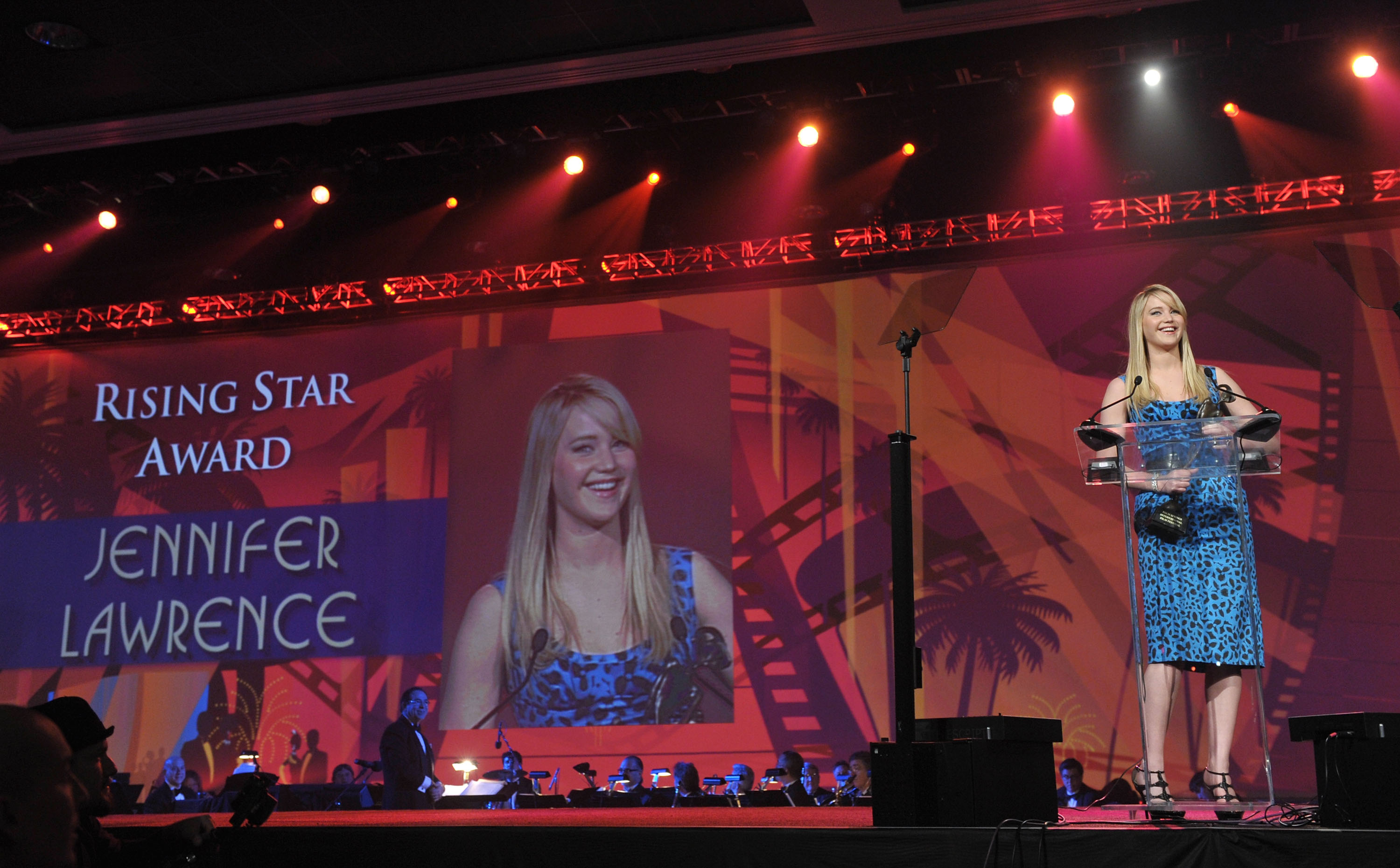 Jennifer Lawrence accepts the Rising Star Award during the 22nd Annual Palm Springs International Film Festival Awards on Jan. 8, 2011 in Palm Springs, Calif.