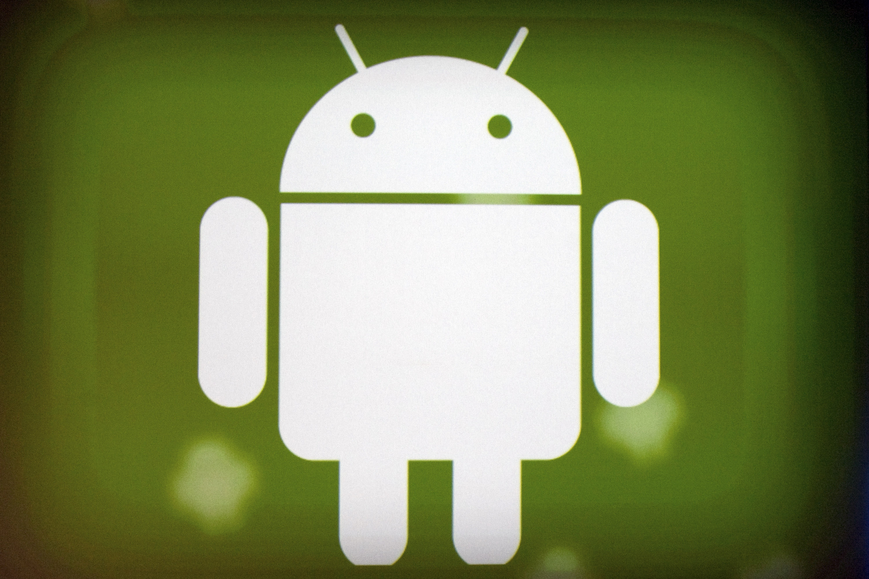 Google Inc.'s Android logo is displayed during a keynote speech at the Google I/O conference in San Francisco, California, U.S., on Tuesday, May 10, 2011.