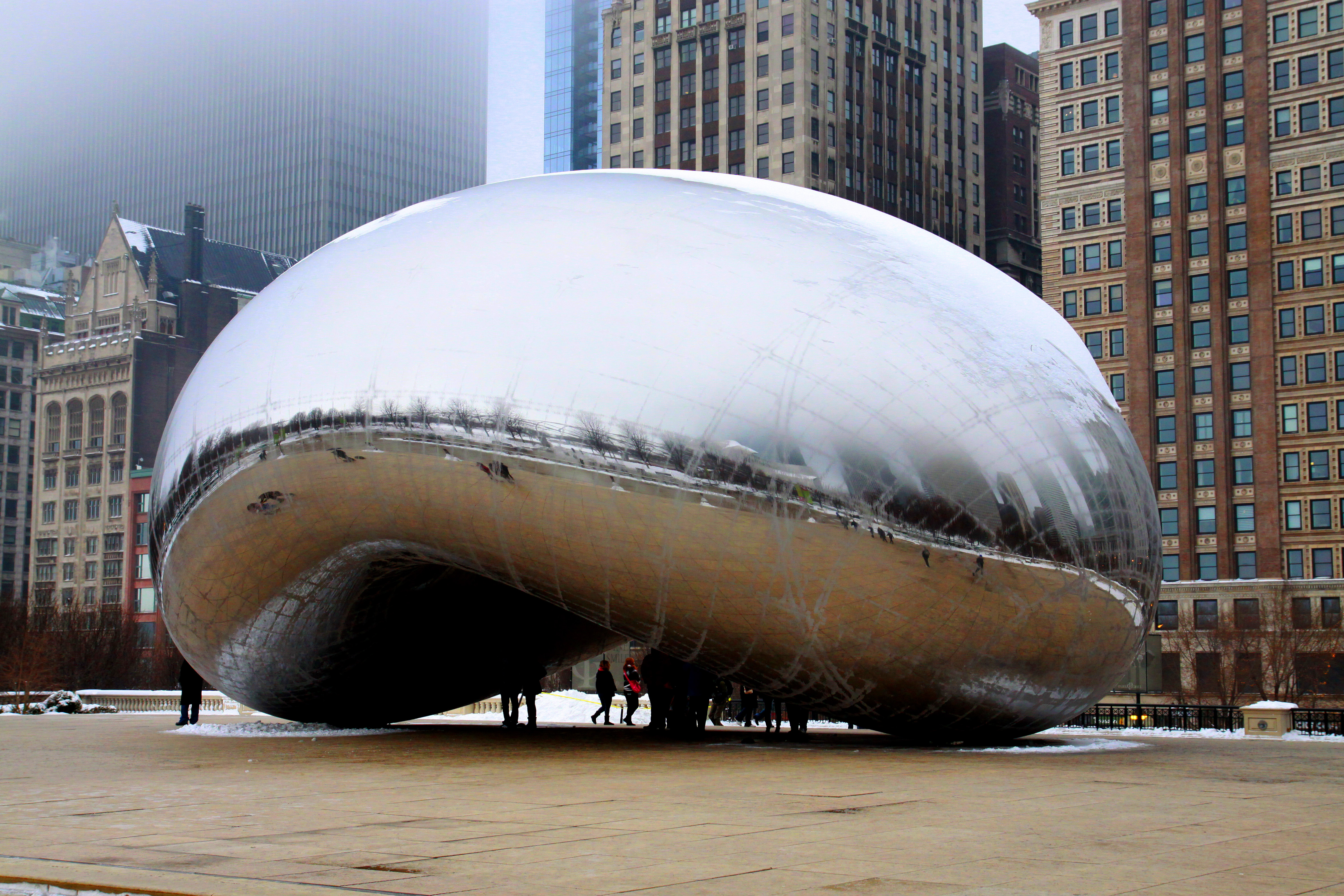 Anish Kapoor's Cloud Gate, on a winter and foggy afternoon in Chicago, Illinois on January 22, 2012.