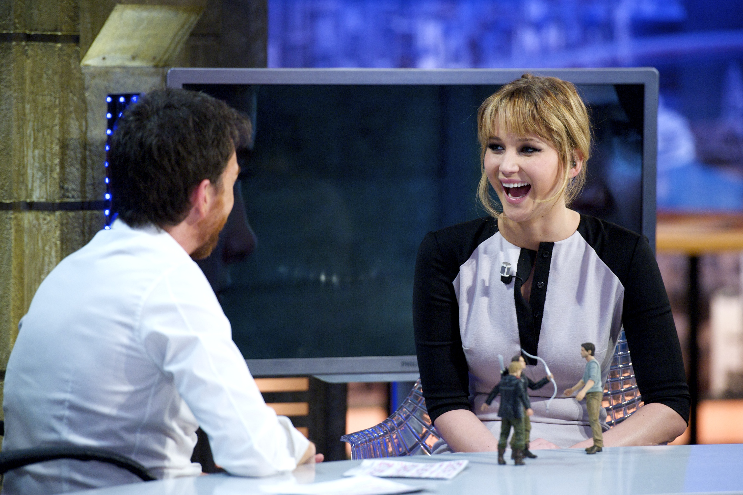 Jennifer Lawrence appears on <i>El Hormiguero</i> on April 19, 2012 in Madrid.