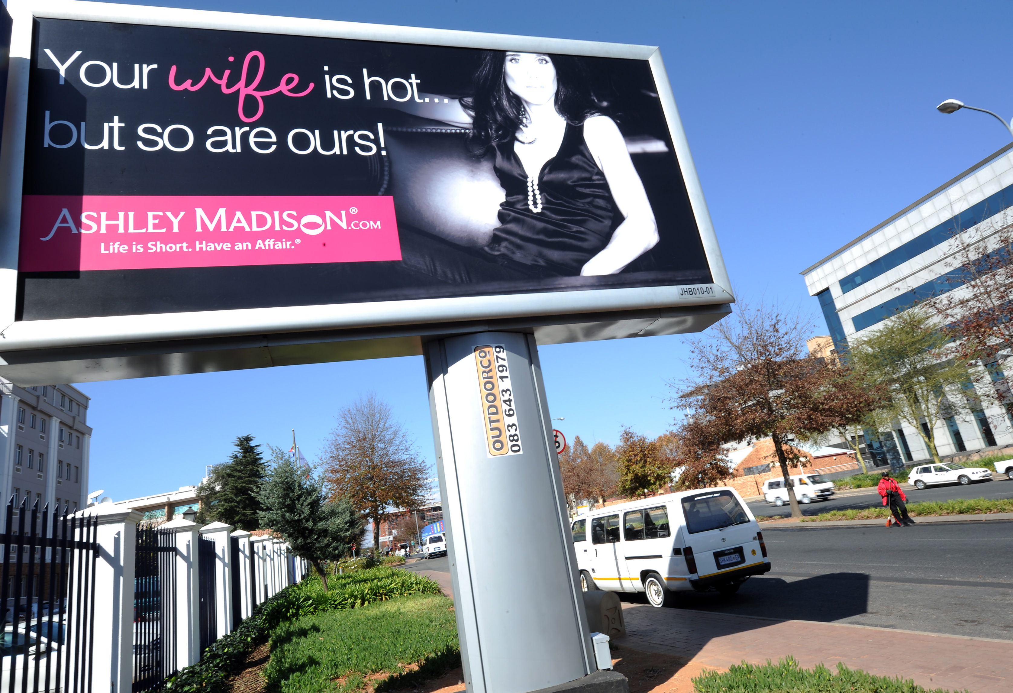 A billboard is displayed advertising online-affair website 'AshleyMadison.com' on June 6, 2012 in Johannesburg, South Africa.