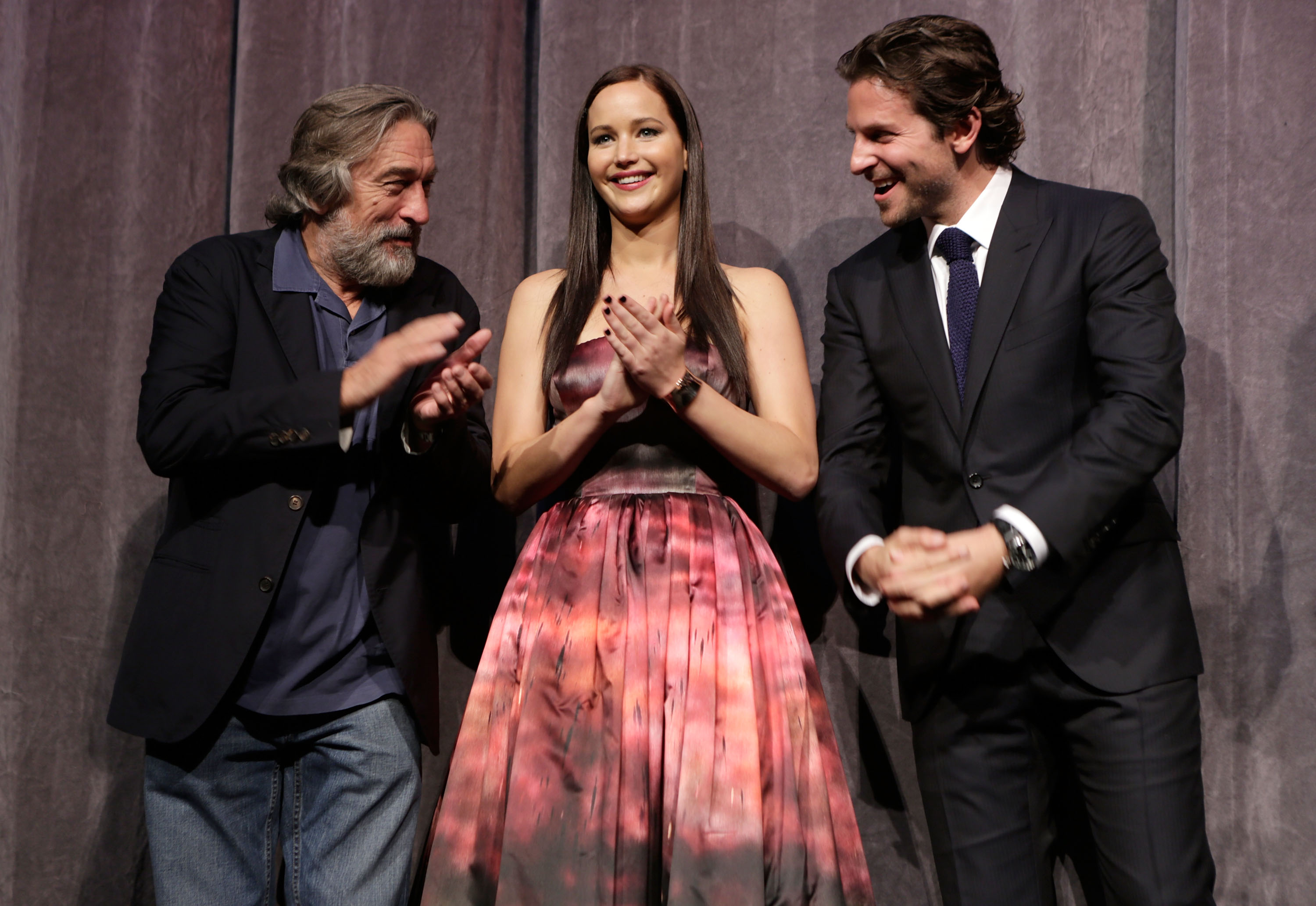 Robert De Niro, Jennifer Lawrence and Bradley Cooper at the Silver Linings Playbook premiere during the 2012 Toronto International Film Festival on Sept. 8, 2012 .