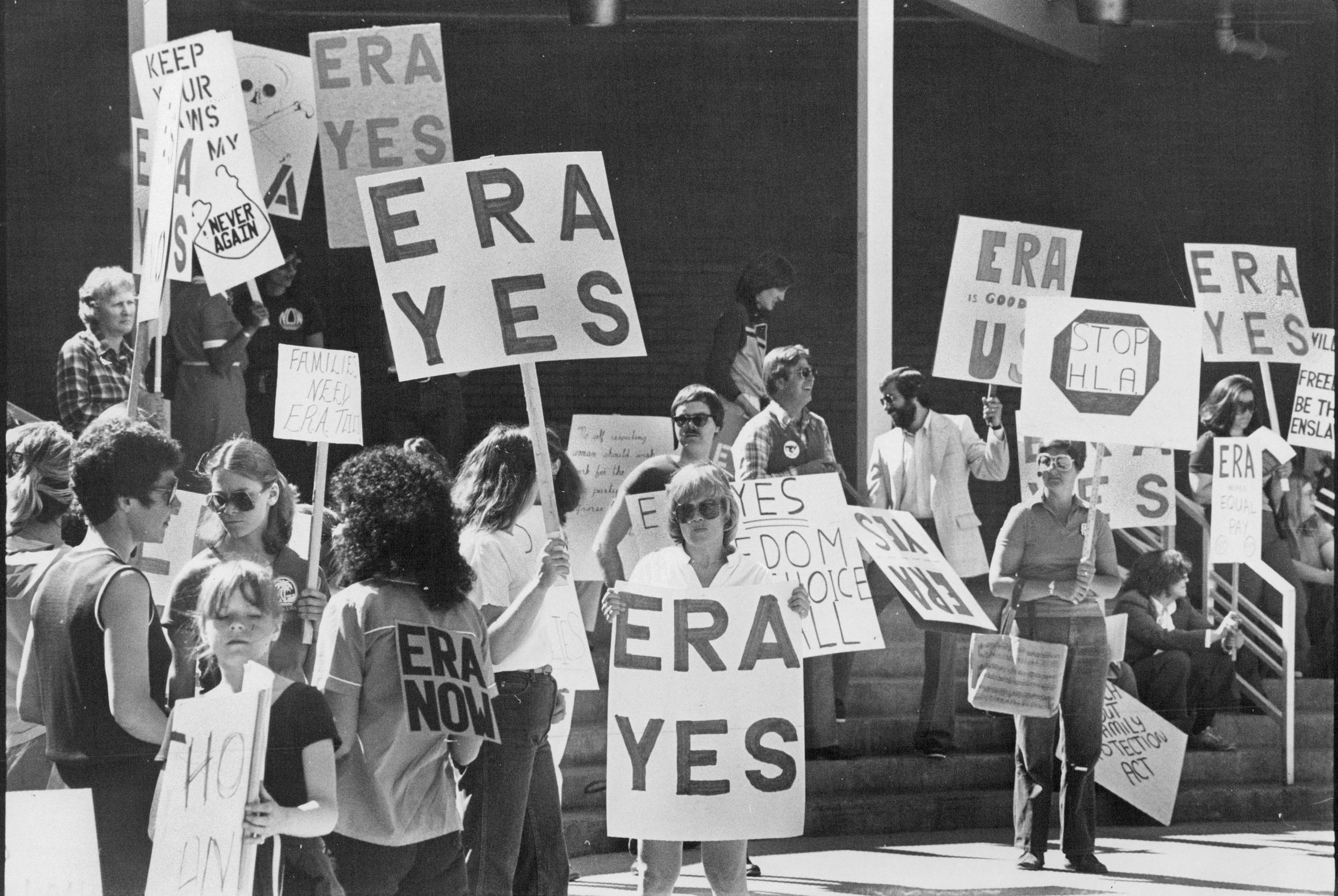 APR 25 1981, APR 27 1981; Picketes Supported Equal Rights Amendment Protested Views being discussed at Pro- Family Meet.;  (Photo By Dave Buresh/The Denver Post via Getty Images)