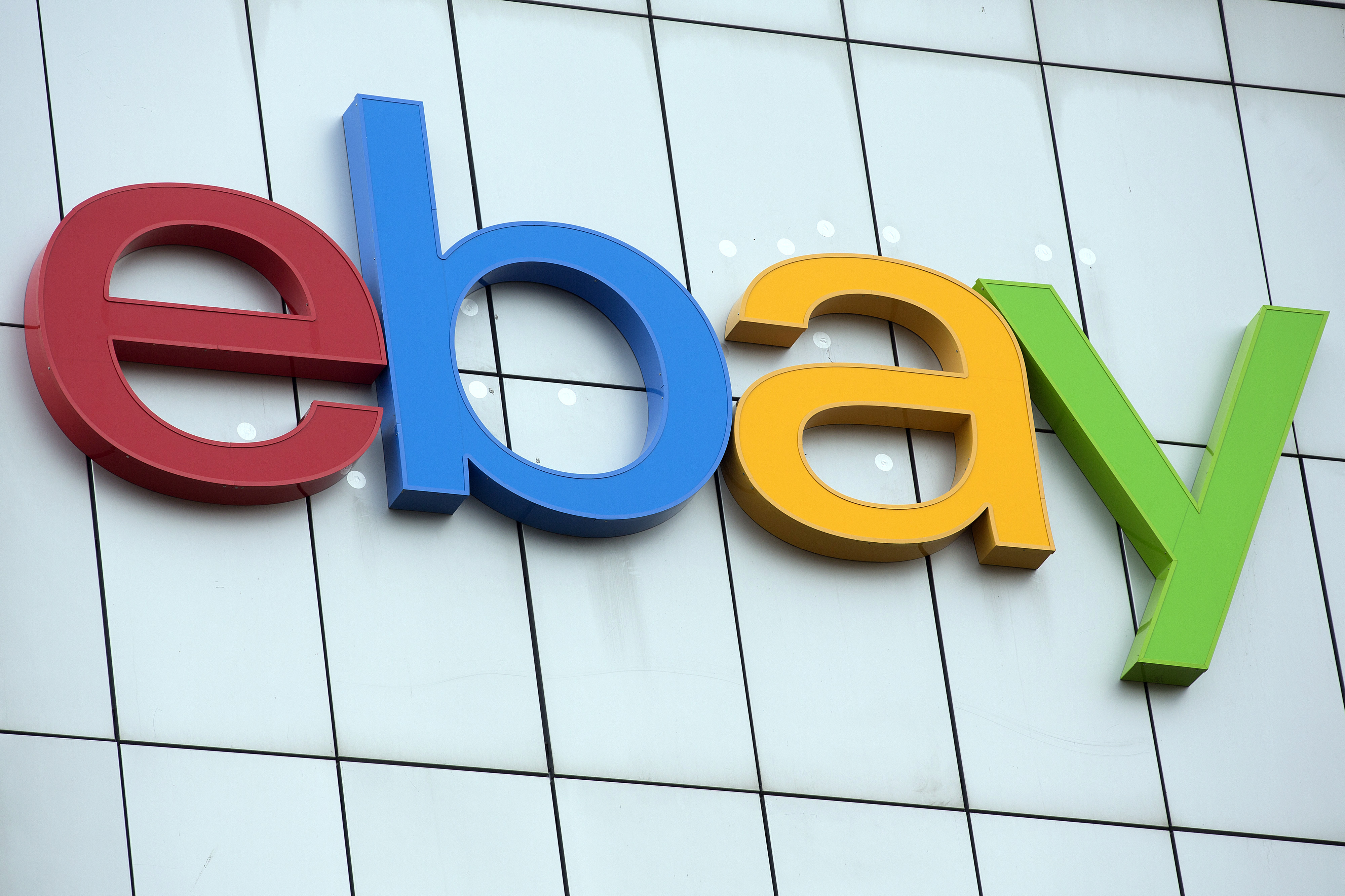 The EBay logo is seen on display on the exterior of EBay Inc.'s European headquarters at Blanchardstown in Dublin, Ireland, on Friday, March 15, 2013.