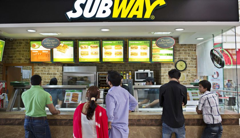 A Subway fast food restaurant in India.