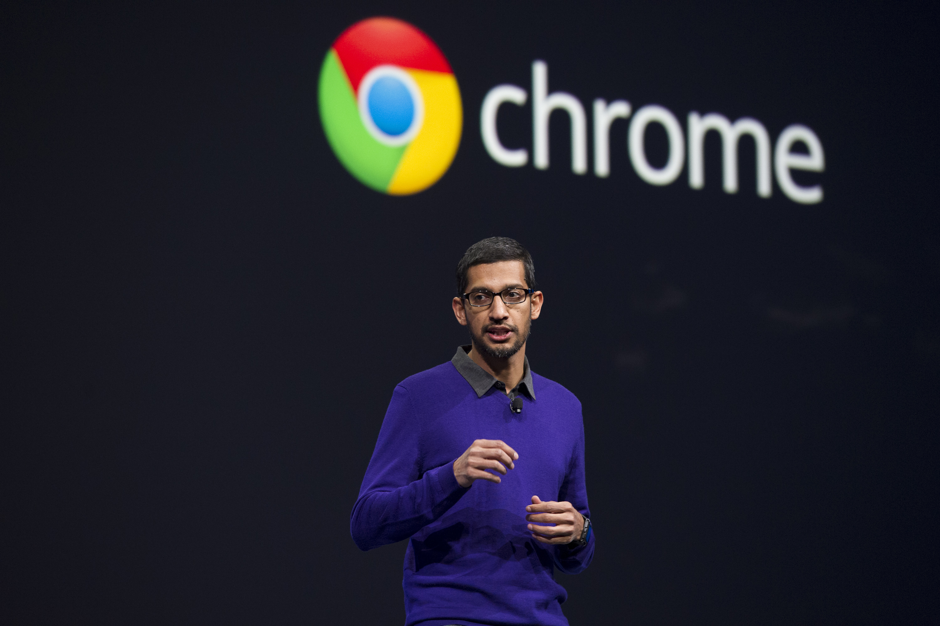 Sundar Pichai, senior vice president of Android, Chrome and Apps for Google Inc., speaks during the Google I/O Annual Developers Conference in San Francisco, California, U.S., on Wednesday, May 15, 2013.