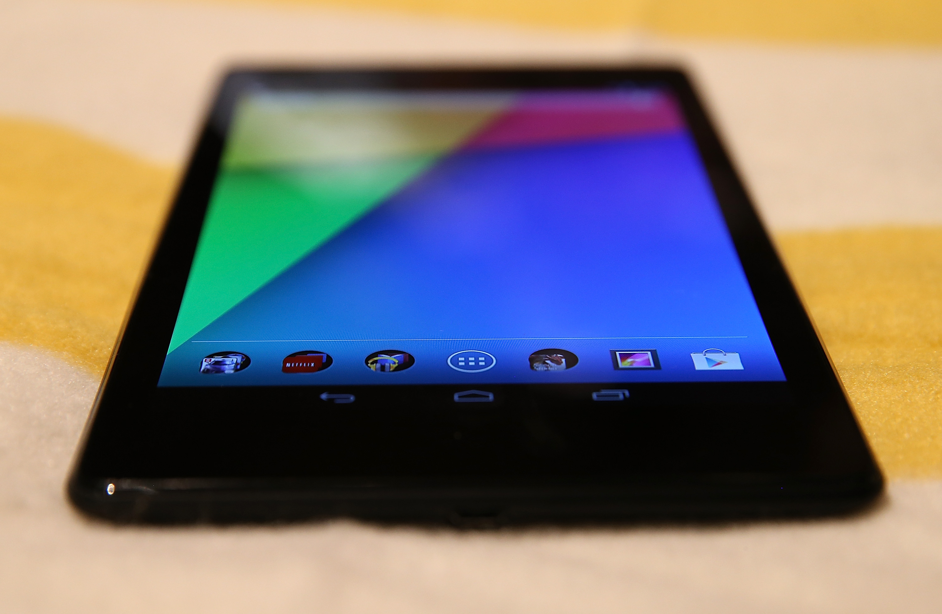 The new Google Nexus 7 tablet, made by Asus is displayed during a Google special event at Dogpatch Studios on July 24, 2013 in San Francisco, California.