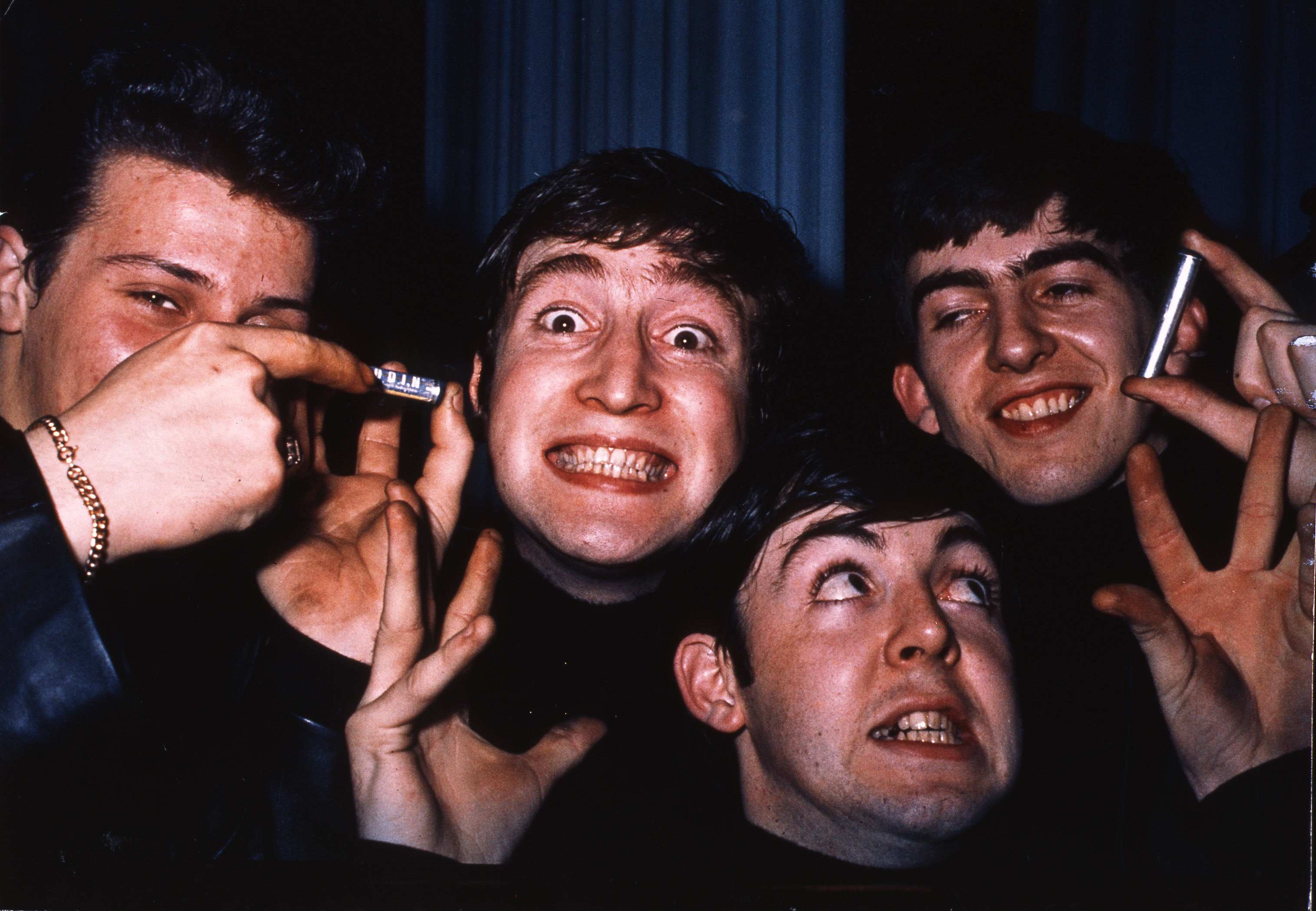 The Beatles posed in Hamburg, Germany during their residency at The Star Club in May 1962.