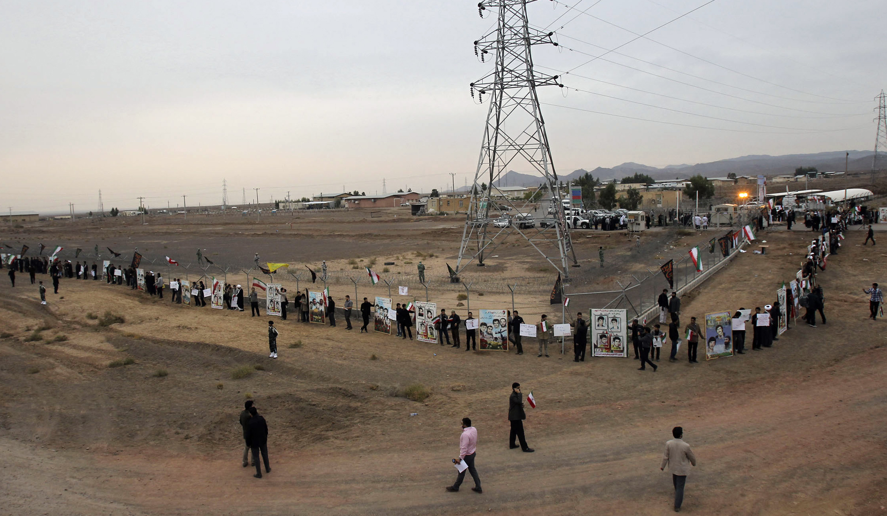 Iranian students formed a human chain to defend their country's nuclear program in 2013 outside the Fordow Uranium Conversion Facility in the northern part of the country.