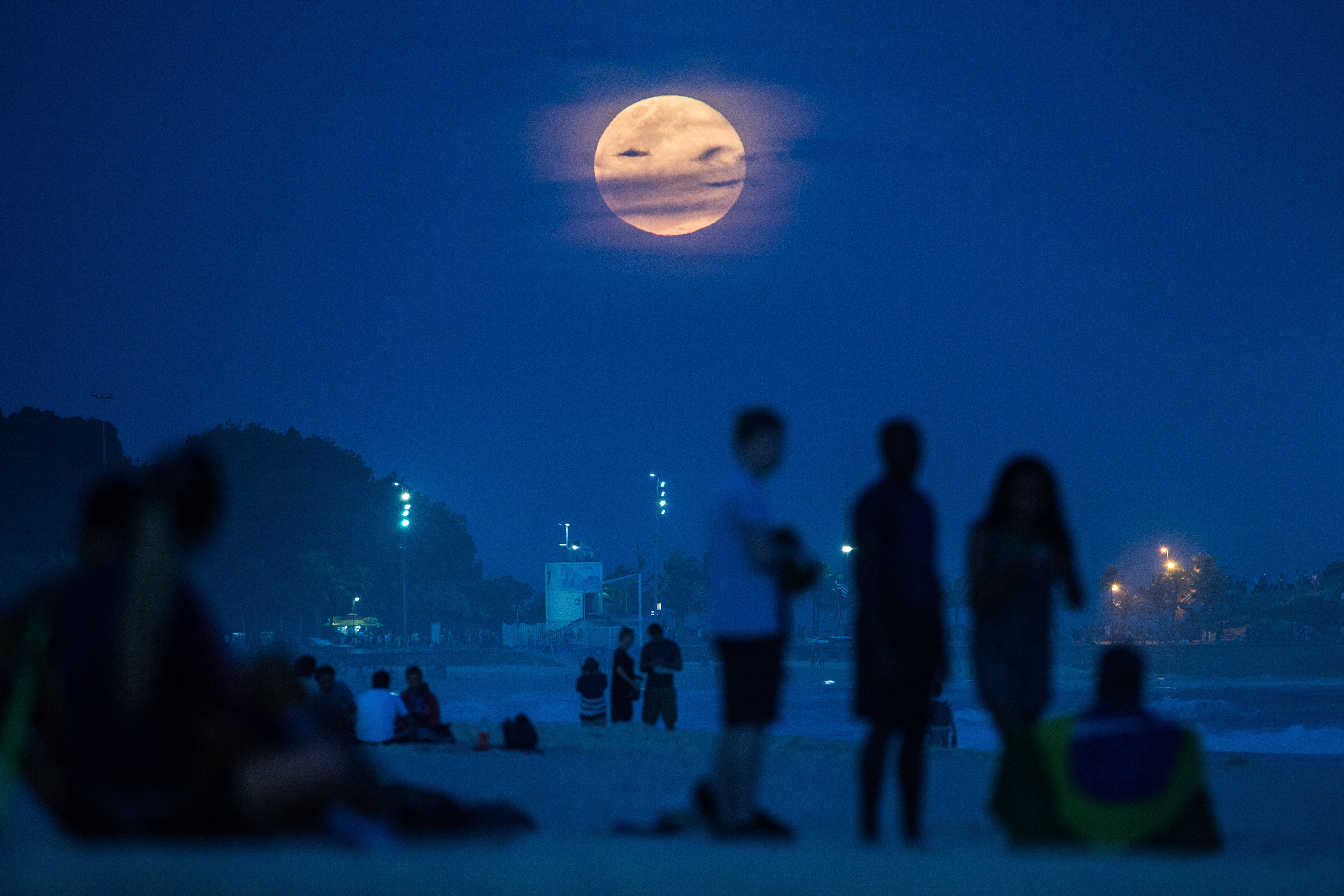 The supermoon rises at Ipanema beach in Rio de Janeiro on Aug. 10, 2014.