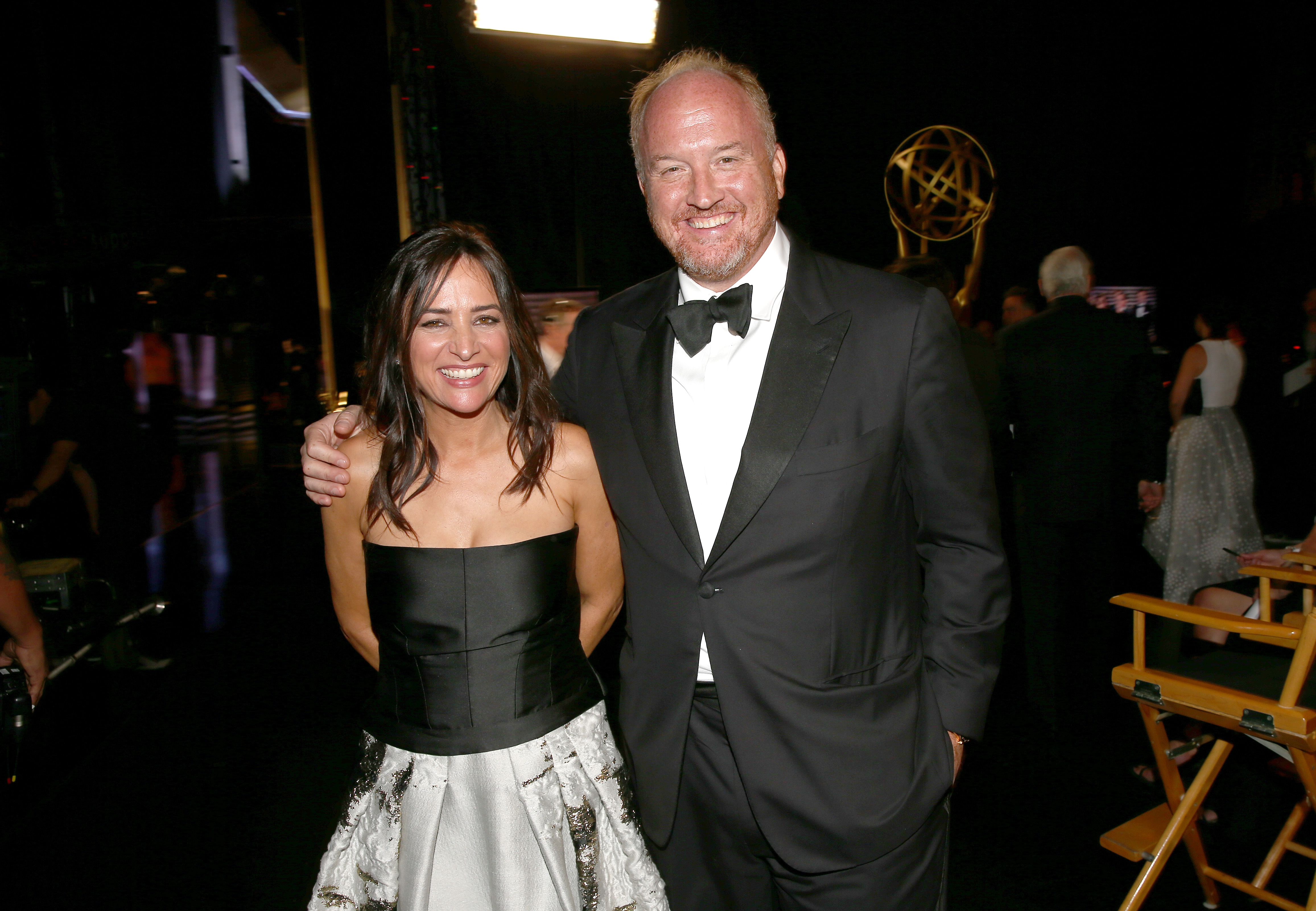 Pamela Adlon and Louis C.K. backstage during the 66th Annual Primetime Emmy Awards held at the Nokia Theater on August 25, 2014.