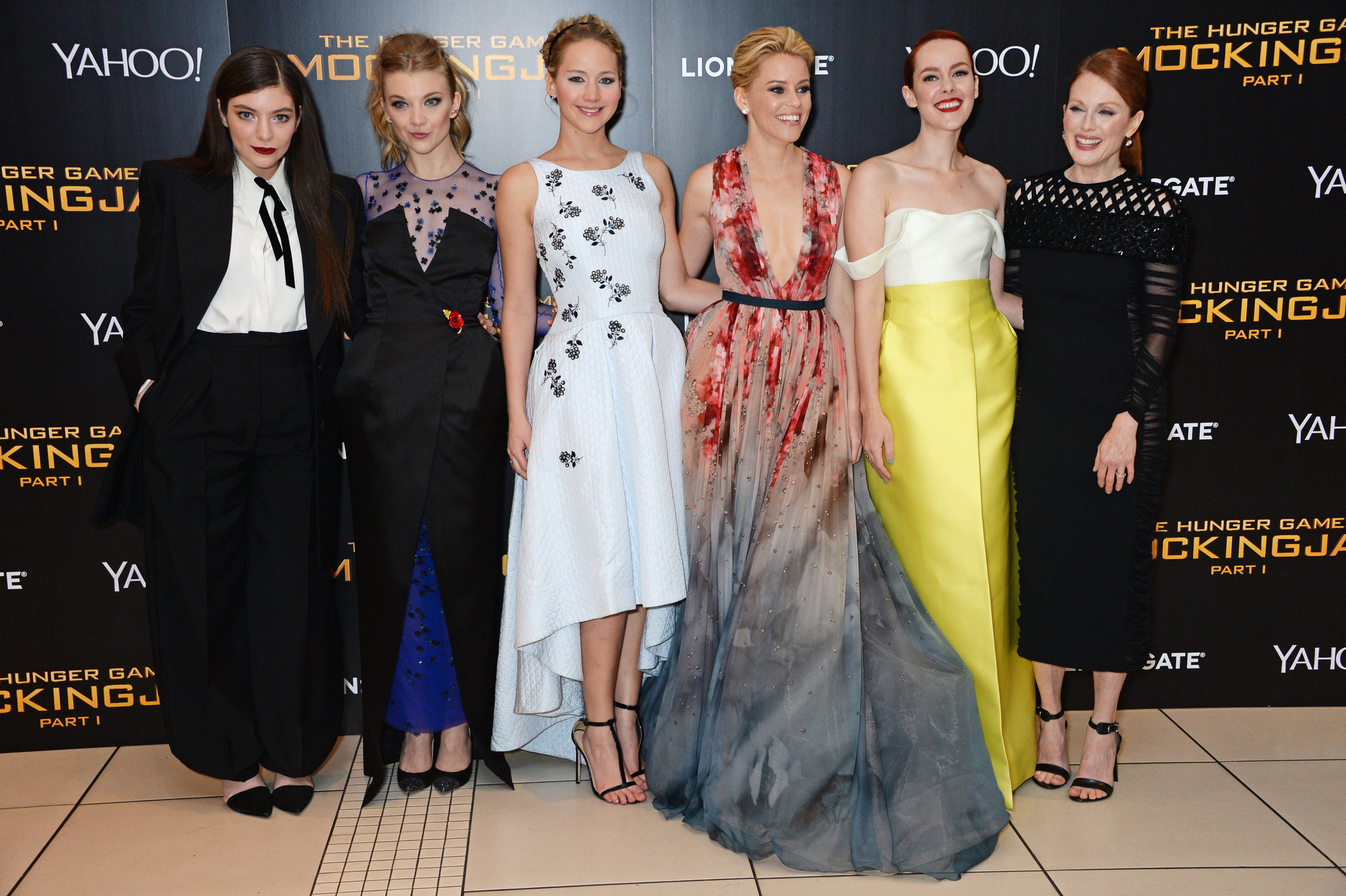 Lorde, Natalie Dormer, Jennifer Lawrence, Elizabeth Banks, Jena Malone and Julianne Moore attend the World Premiere of <i>The Hunger Games: Mockingjay Part 1</i> on Nov. 10, 2014 in London.