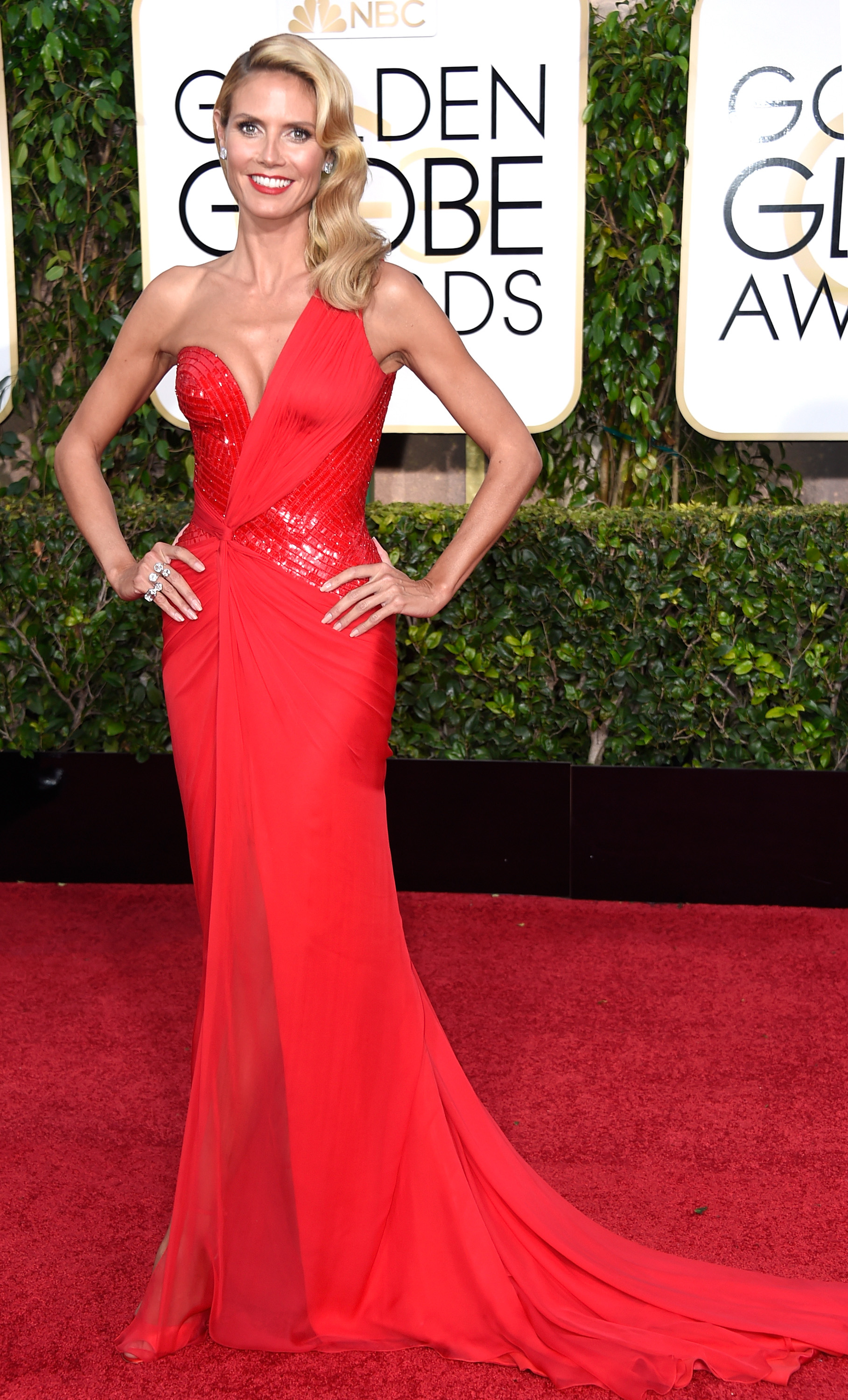 Model/TV personality Heidi Klum attends the 72nd Annual Golden Globe Awards at The Beverly Hilton Hotel in Beverly Hills, Calif., on January 11, 2015.