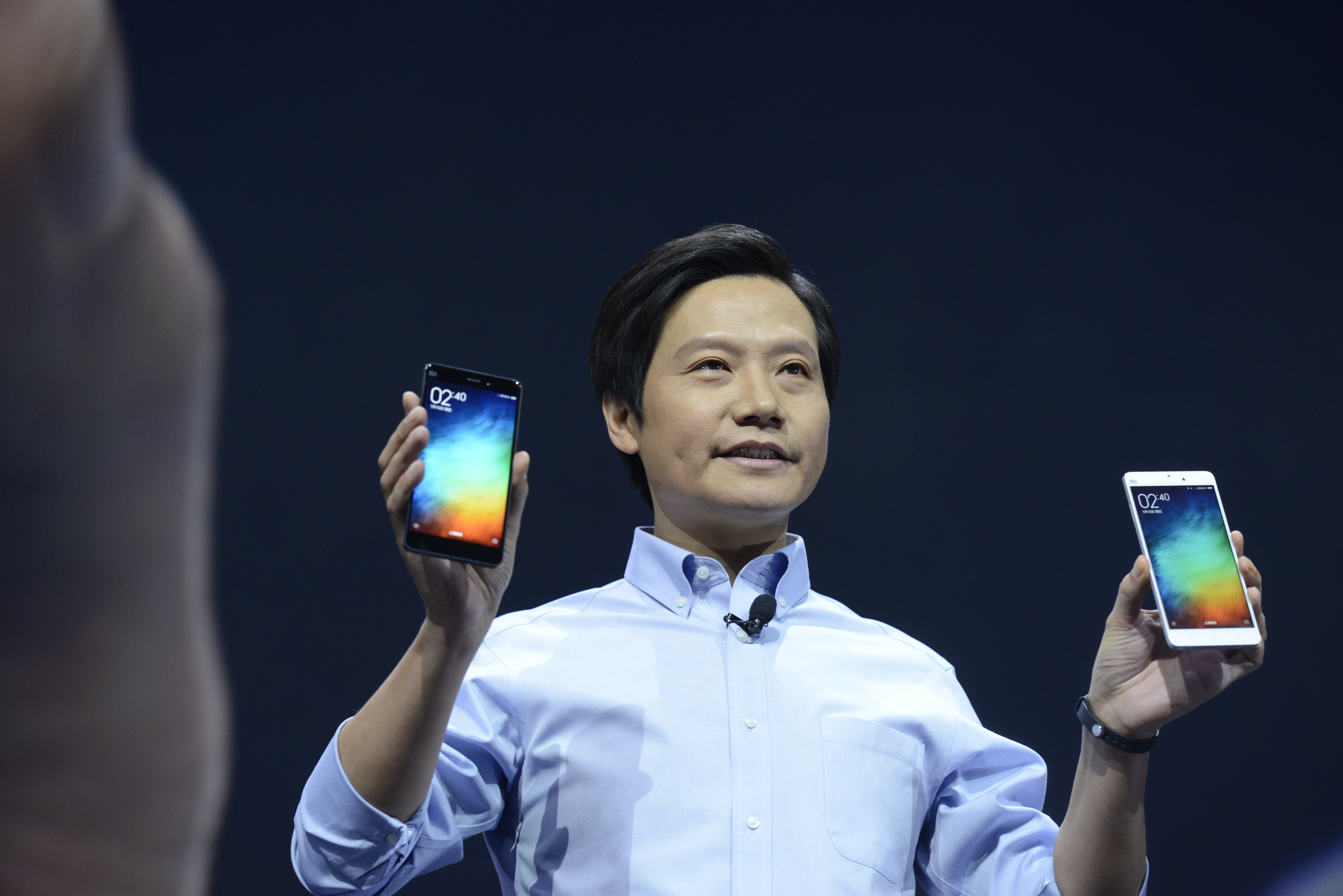 Lei Jun, chairman and CEO of China's Xiaomi Inc. presents the company's new product, the Mi Note on January 15, 2015 in Beijing, China.