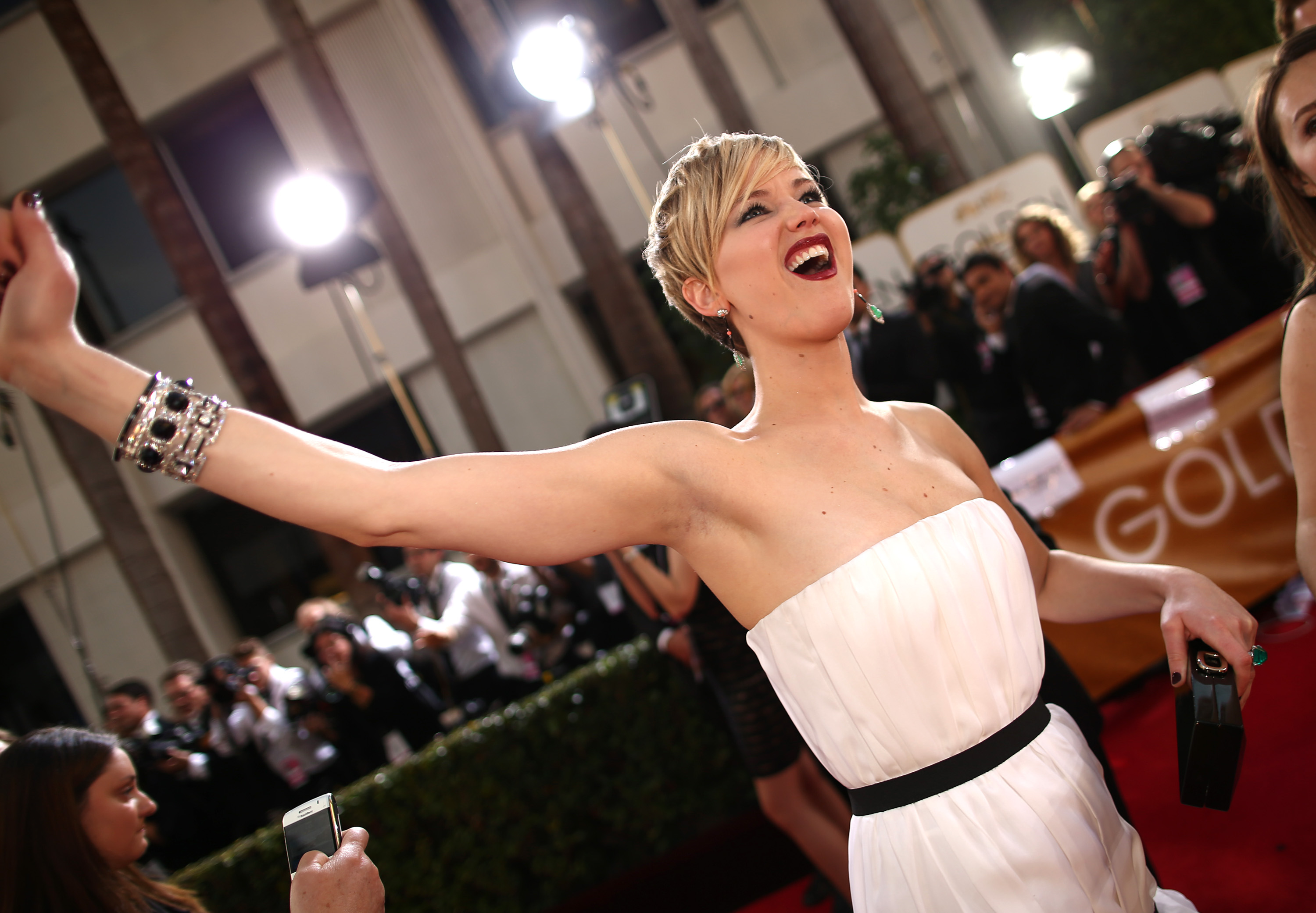 Jennifer Lawrence arrives to the 71st annual Golden Globe Awards on Jan. 12, 2014 in Los Angeles.