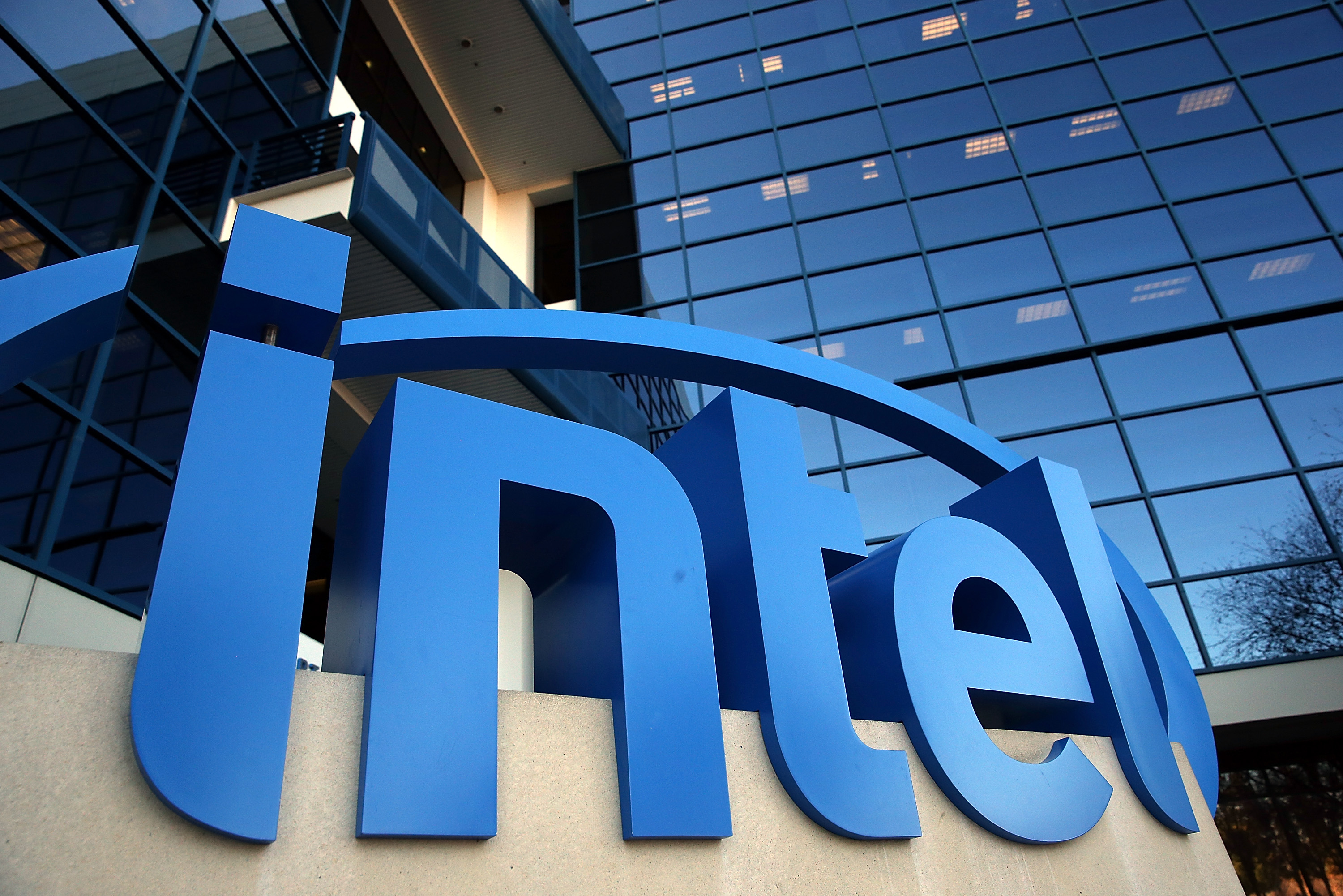 The Intel logo is displayed outside of the Intel headquarters on January 16, 2014 in Santa Clara, California.