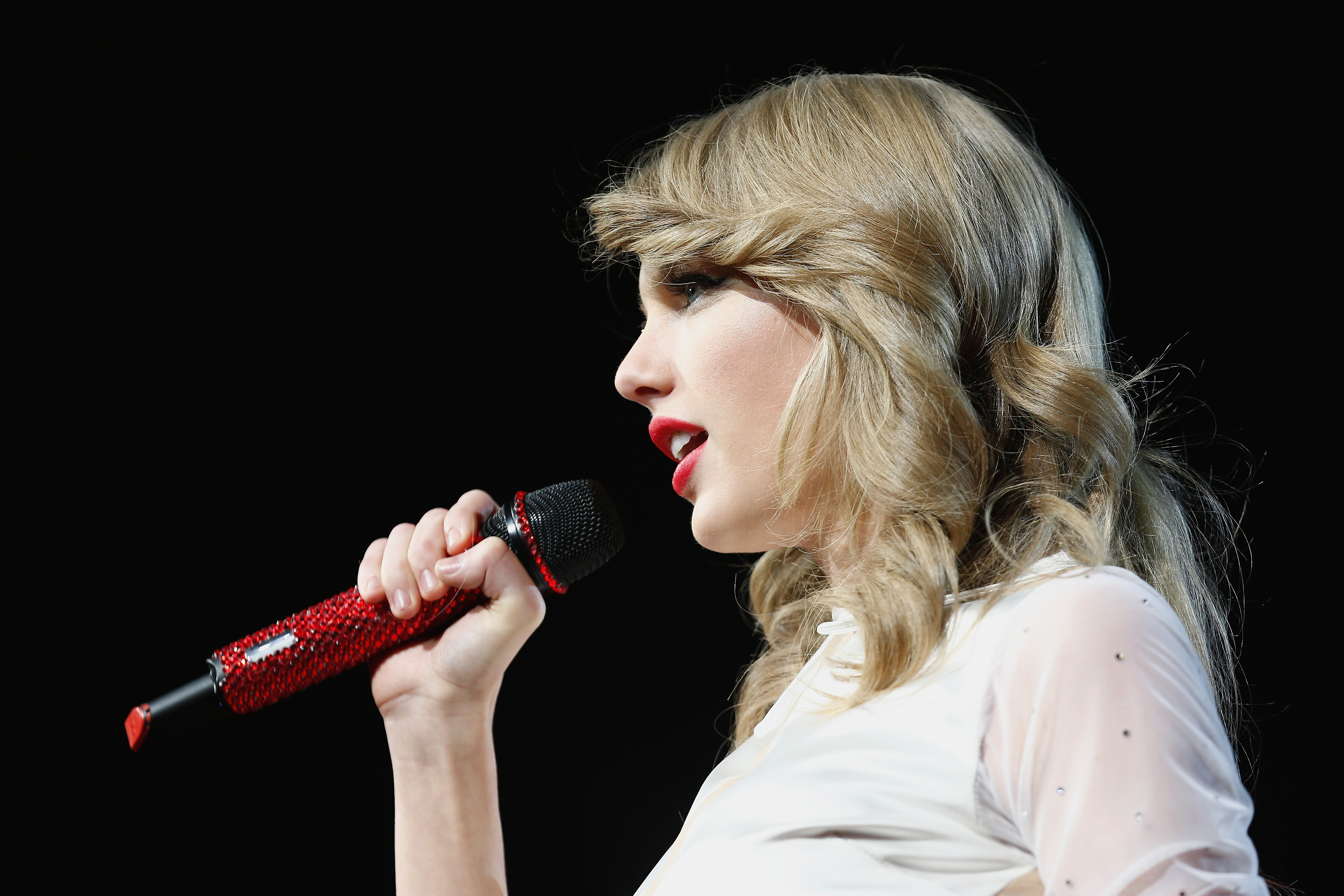 Seven-time Grammy winner Taylor Swift took the European leg of her blockbuster The RED Tour show to Berlin's, O2 World playing to a capacity crowd of more than 10,700 fans on February 7, 2014 in Berlin, Germany.