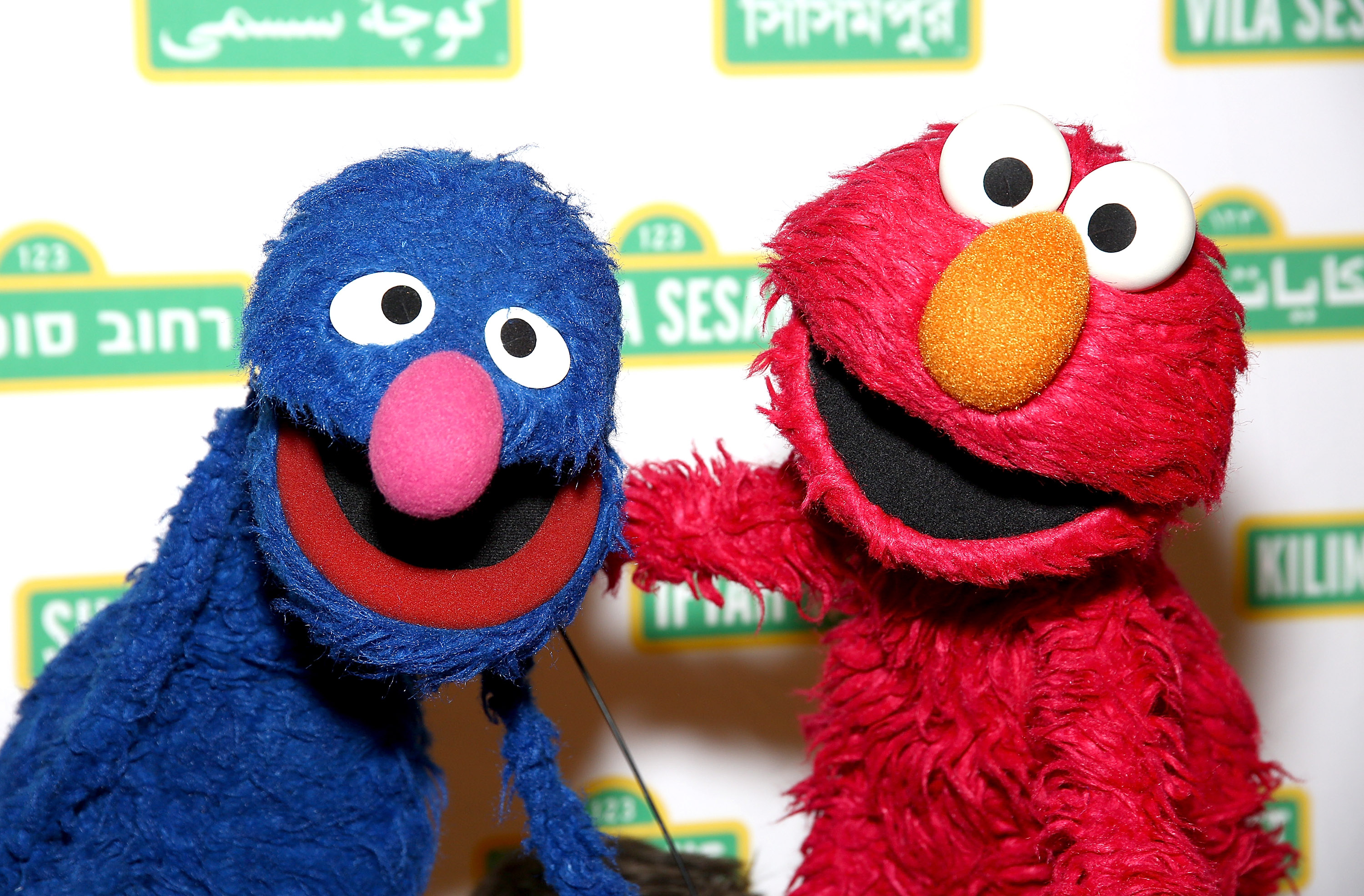 Sesame Street Muppets 'Grover' and 'Elmo' attend the Sesame Workshop's 13th Annual Benefit Gala at Cipriani 42nd Street on May 27, 2015 in New York City.