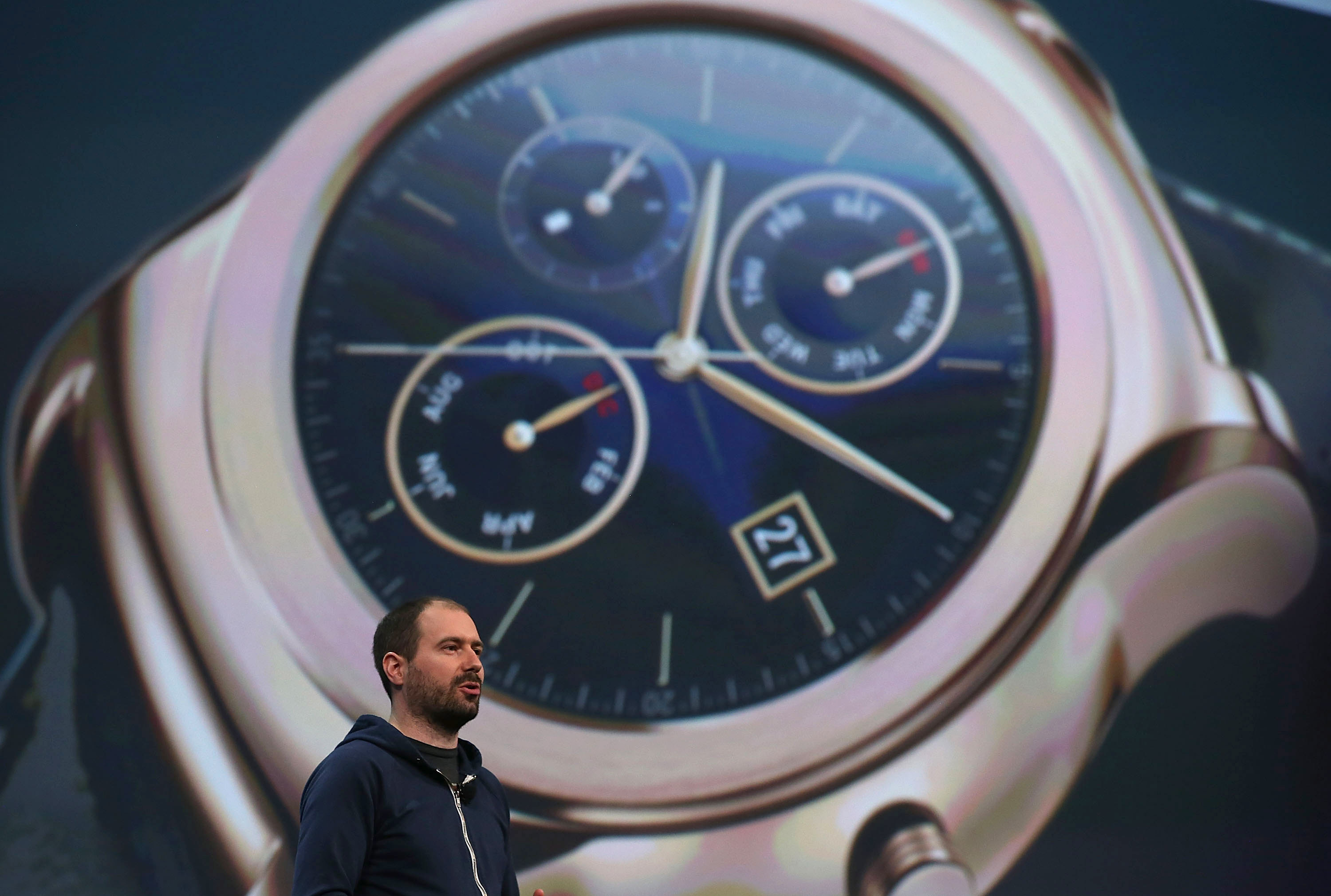 Google Android Wear director David Singleton announces Androidwear updates during the 2015 Google I/O conference on May 28, 2015 in San Francisco, California.
