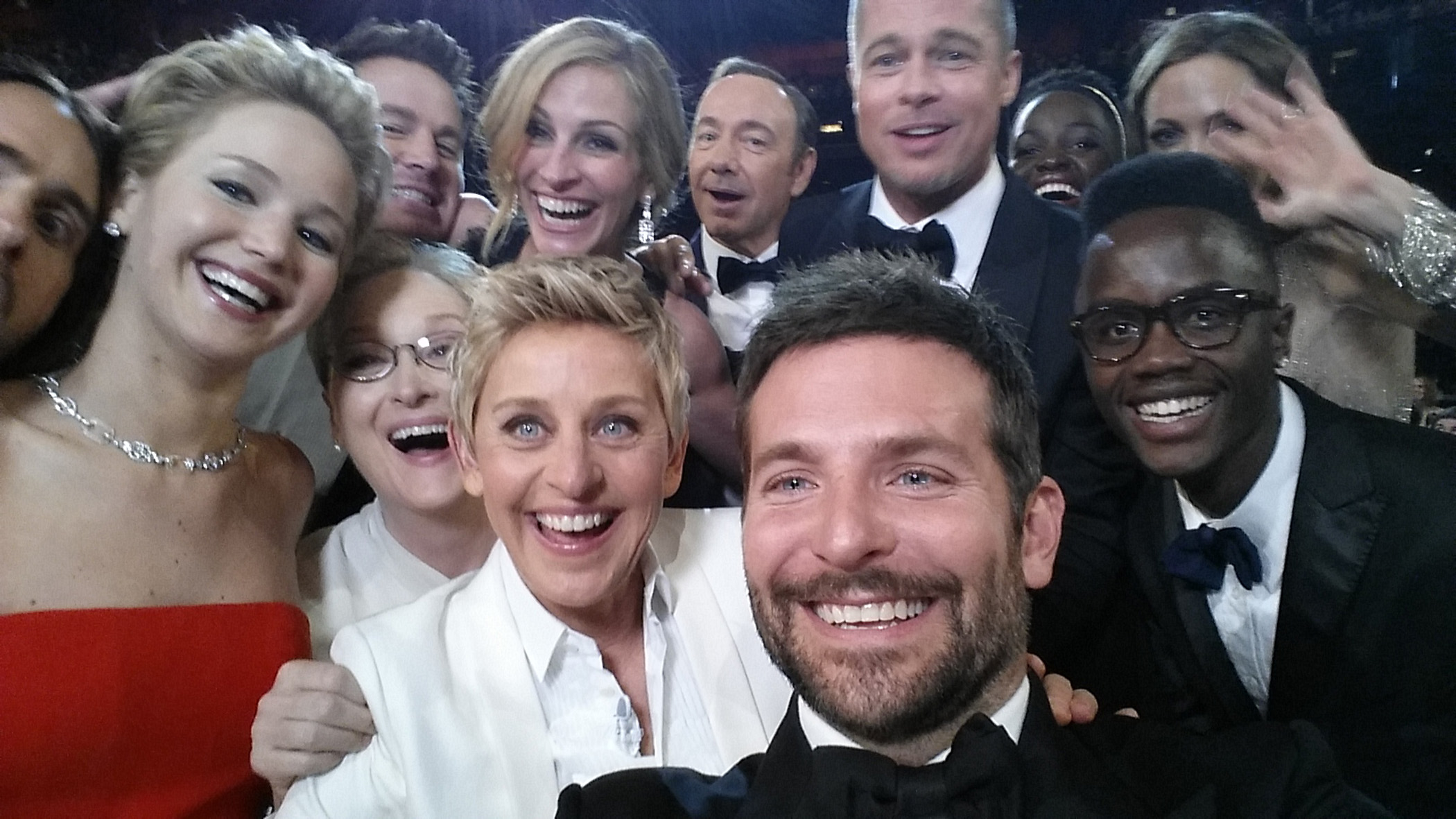 Ellen DeGeneres poses for a selfie taken with Jared Leto, Jennifer Lawrence, Channing Tatum, Meryl Streep, Julia Roberts, Kevin Spacey, Brad Pitt, Lupita Nyong'o, Angelina Jolie, Peter Nyong'o Jr. and Bradley Cooper during the 86th annual Academy Awards on March 2, 2014 in Los Angeles.