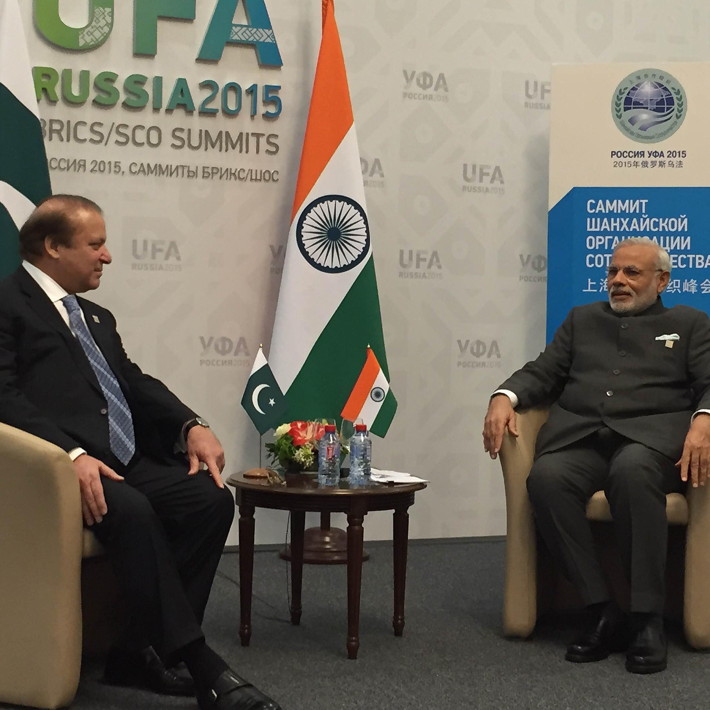 Pakistani Prime Minister Muhammad Nawaz Sharif (L) and India's Prime Minister Narendra Modi (R) meet during Shanghai Cooperation Organization (SCO) summit in Ufa on July 10, 2015.