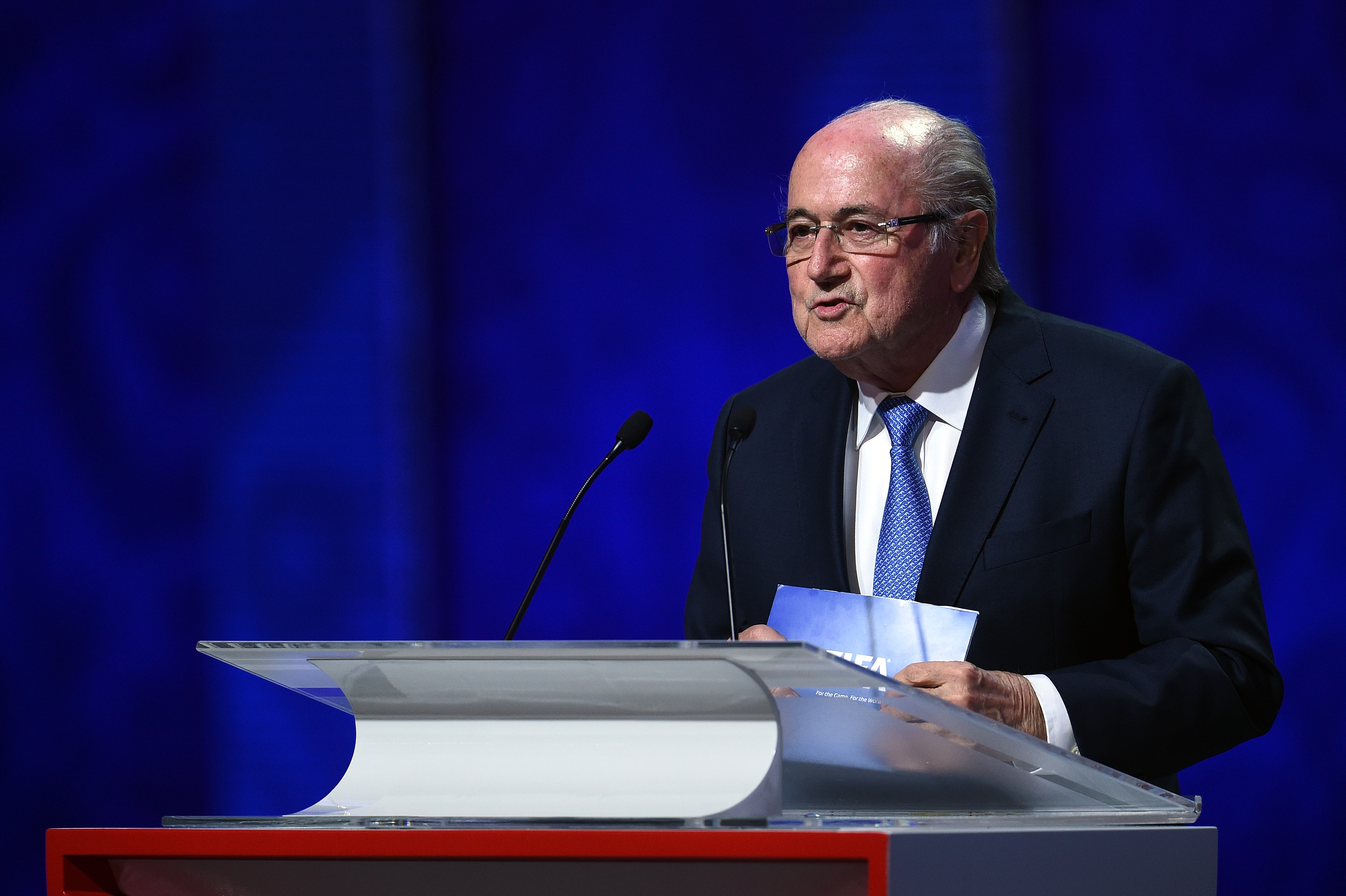 FIFA president Sepp Blatter speaks during the preliminary draw of the 2018 FIFA World Cup in Russia at the Konstantin Palace in St. Petersburg on July 25, 2015
