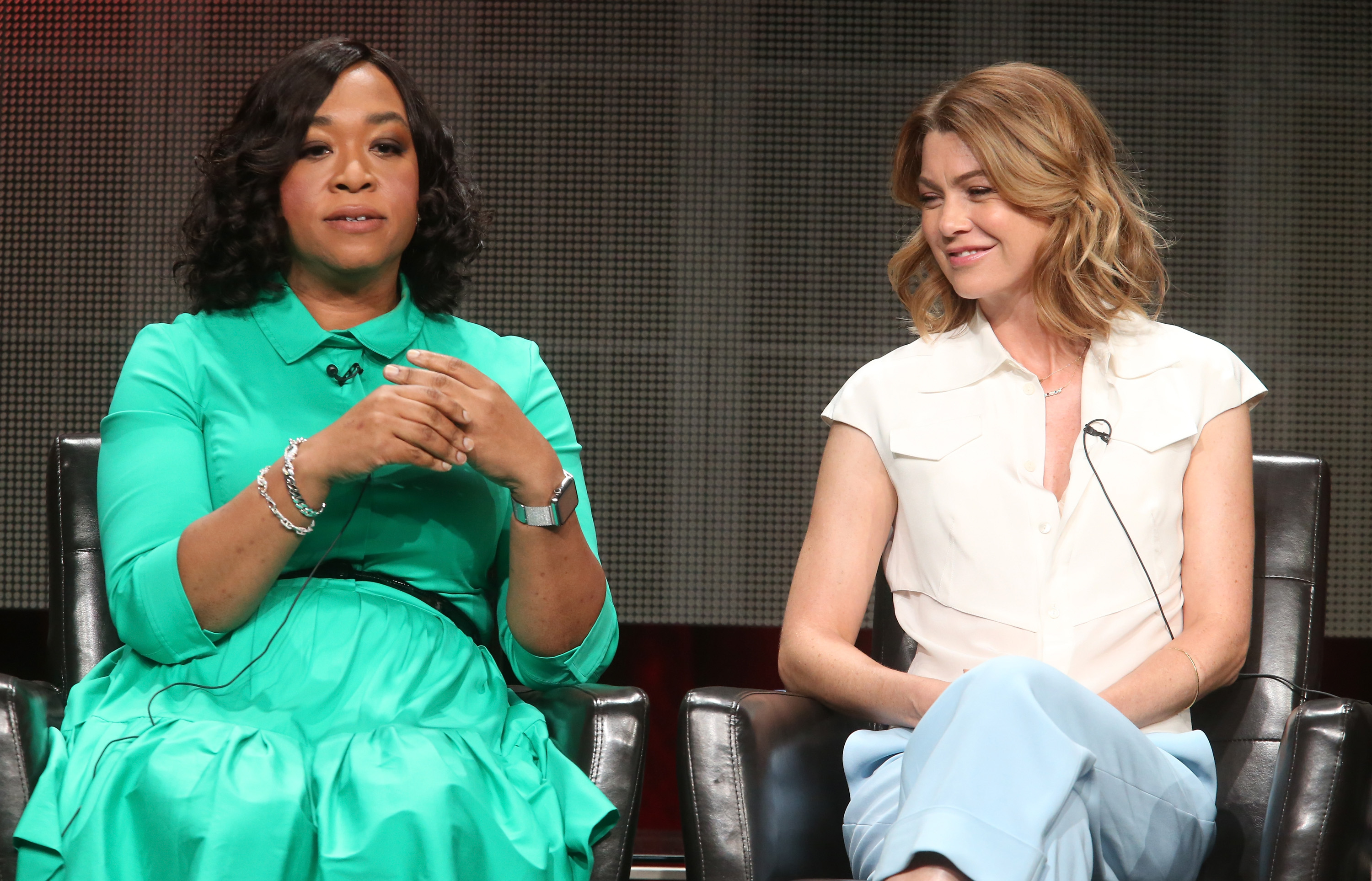 Executive producer Shonda Rhimes, left, and actress Ellen Pompeo speak at The Beverly Hilton Hotel on Aug. 4, 2015, in Beverly Hills, Calif.