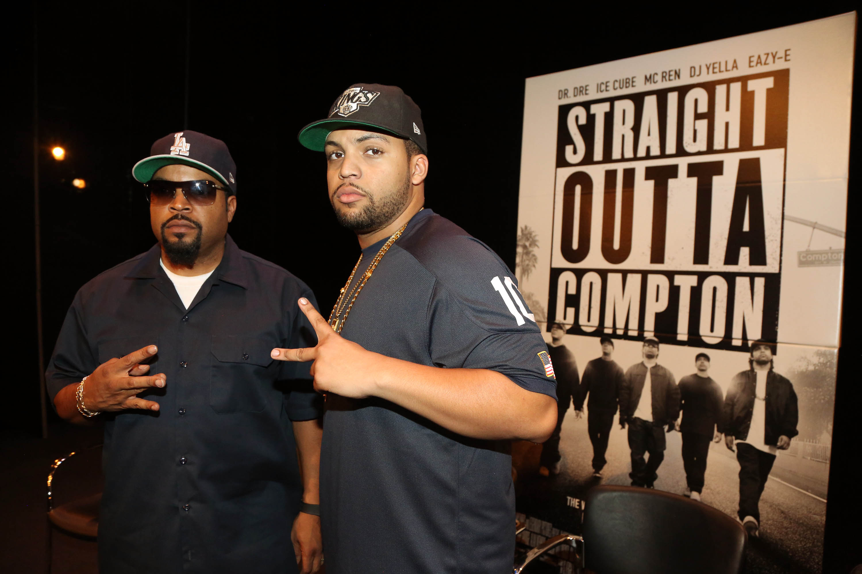 Ice Cube (left) and O'Shea Jackson Jr. attend the 'Straight Outta Compton' New York screening in New York City.