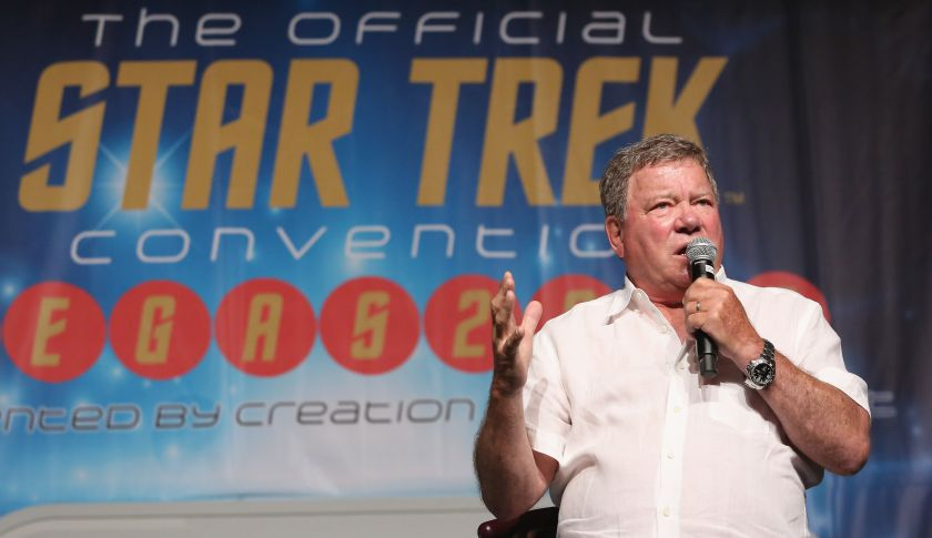 Actor William Shatner speaks during the 14th annual official Star Trek convention in Las Vegas earlier this month.