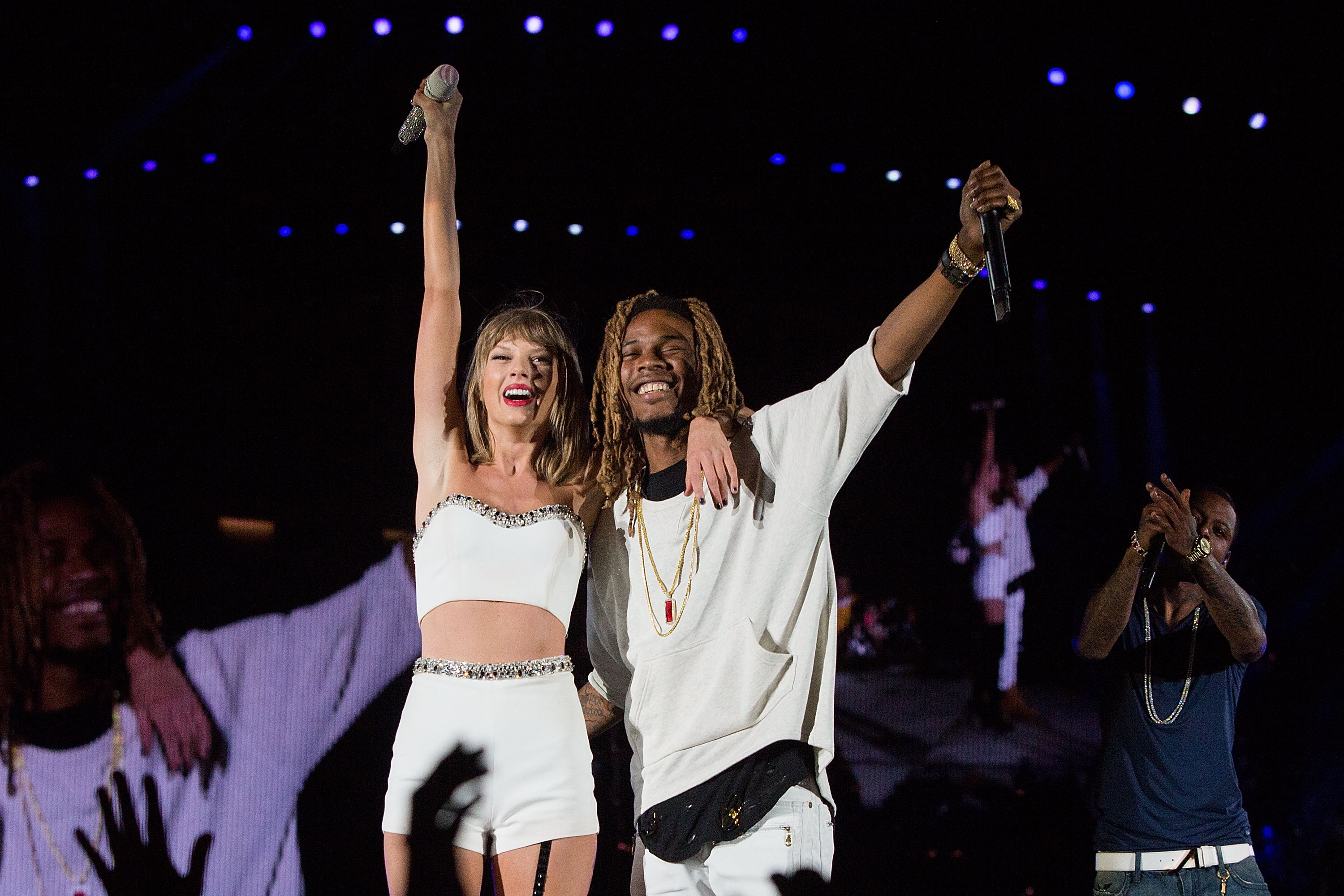 Taylor Swift and Fetty Wap at CenturyLink Field on August 8, 2015 in Seattle, Washington.