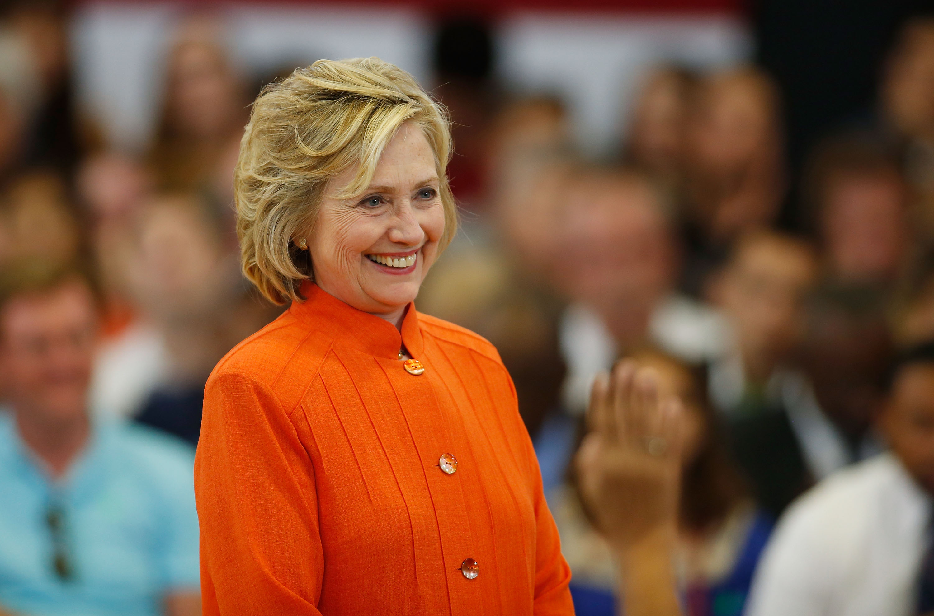 Democratic presidential candidate and former U.S. Secretary of State Hillary Clinton delivers remarks during a campaign stop at Dr. William U. Pearson Community Center on August 18, 2015 in North Las Vegas, Nevada.