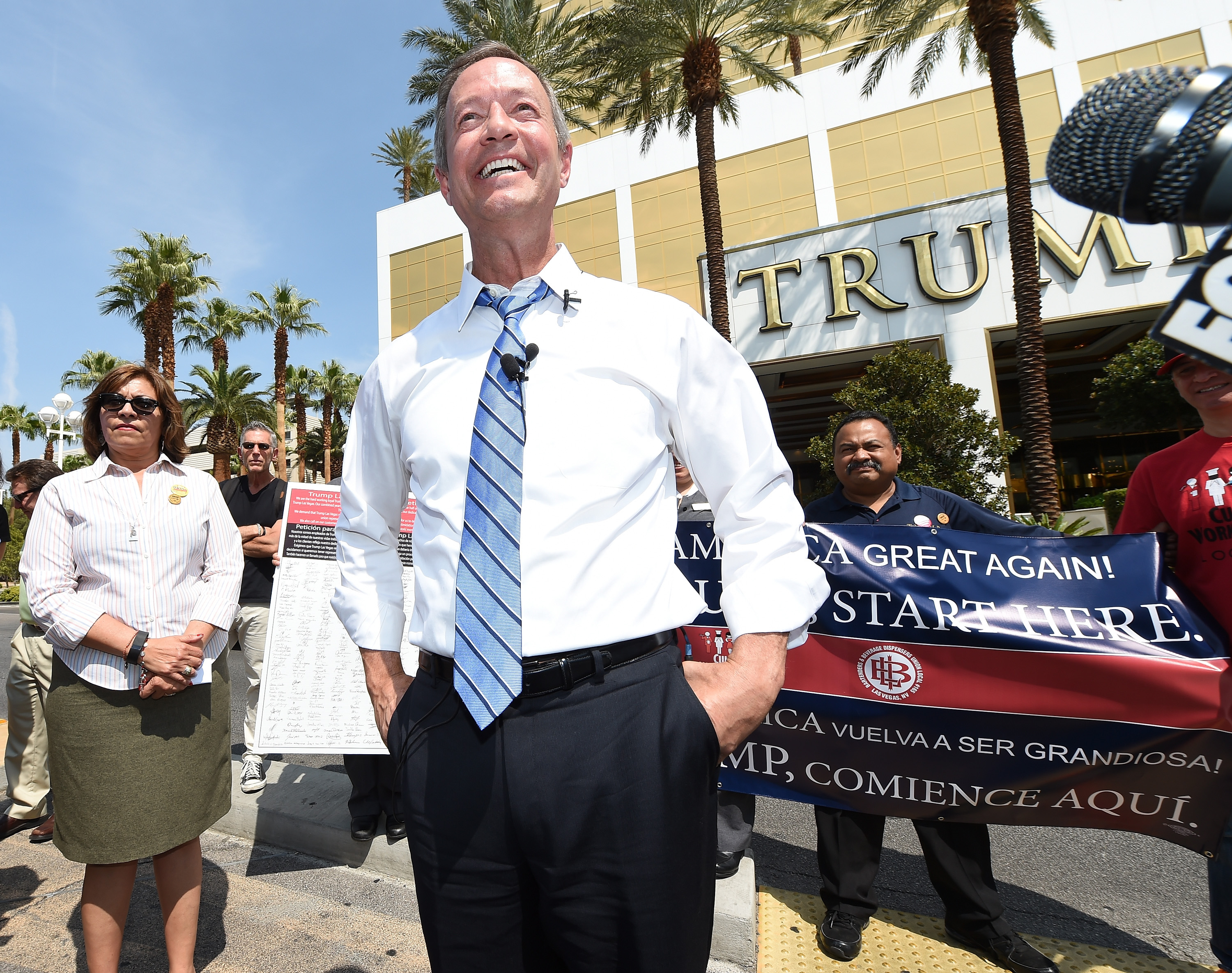 Democratic presidential candidate Martin O'Malley speaks while standing in a median in front of the Trump International Hotel & Tower Las Vegas on August 19, 2015 in Las Vegas, Nevada.