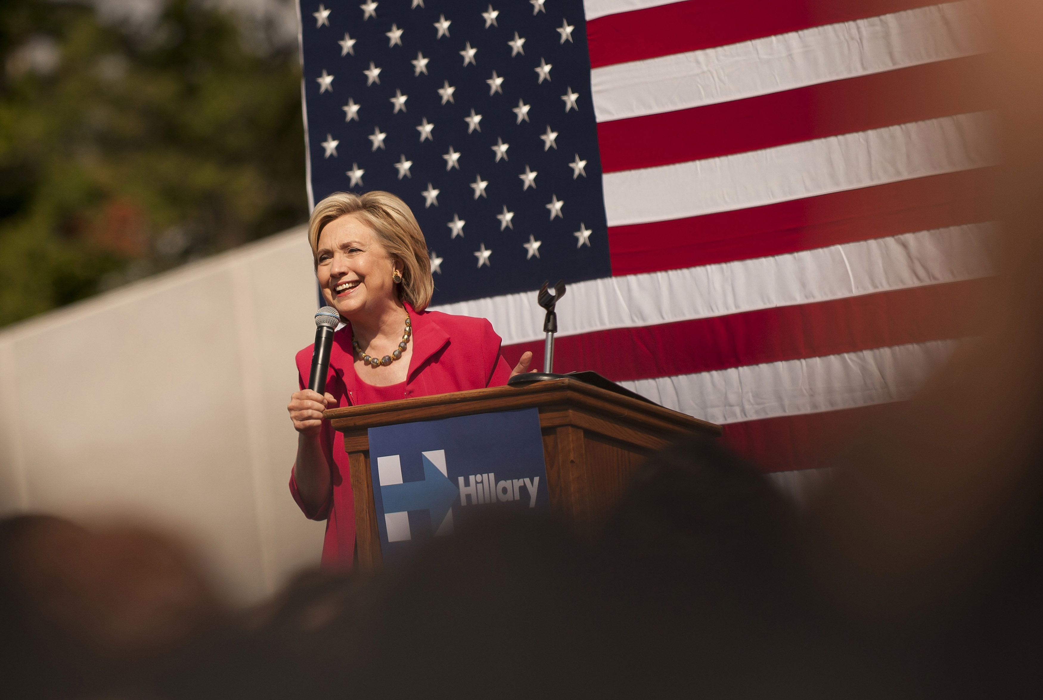 Democratic presidential candidate Hillary Clinton speaks to guests gathered for a campaign meeting on the campus of Case Western Reserve University on August 27, 2015 in Cleveland, Ohio.