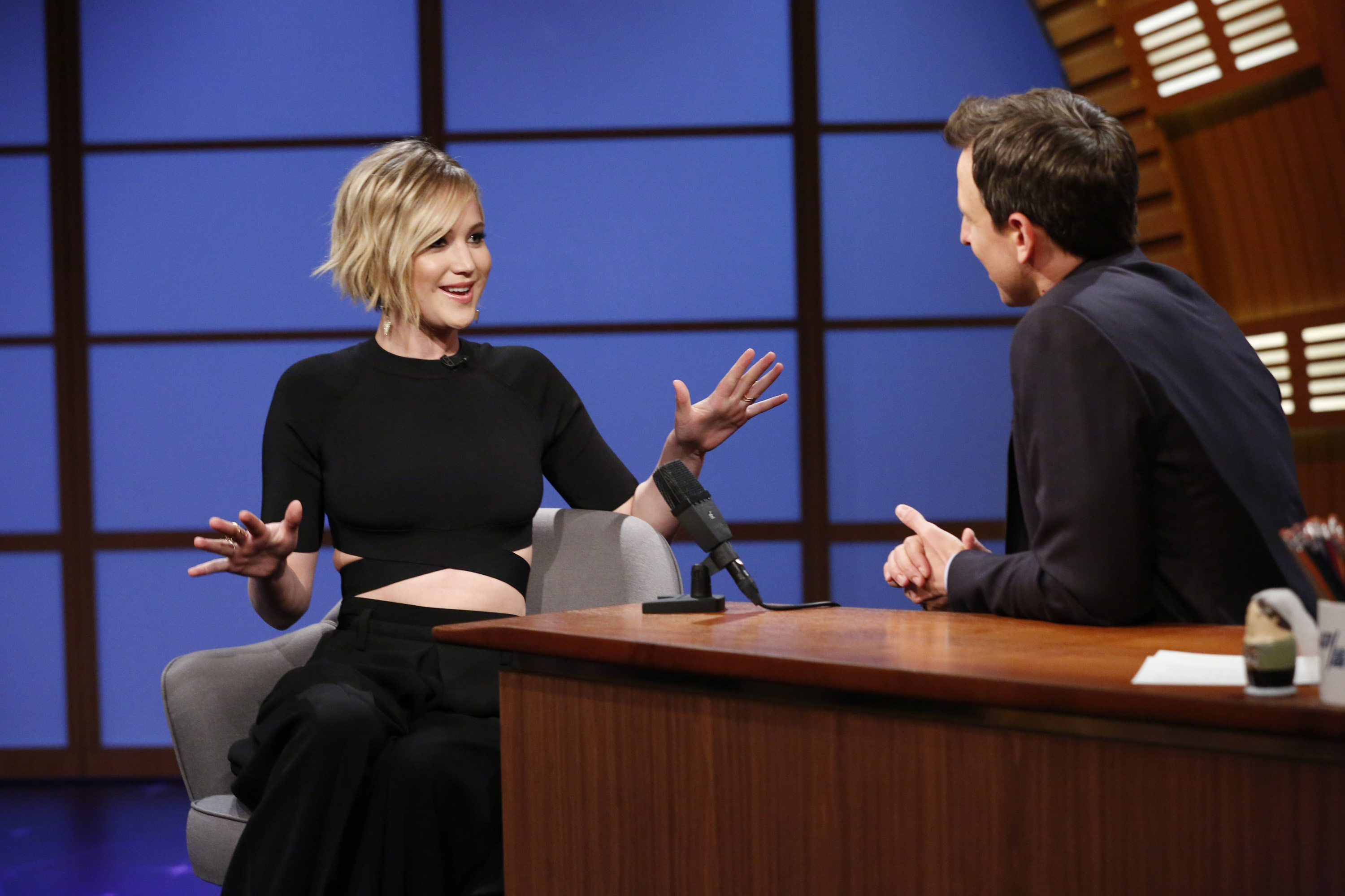 Jennifer Lawrence during an interview on <i>Late Night with Seth Meyers</i> on May 21, 2014.