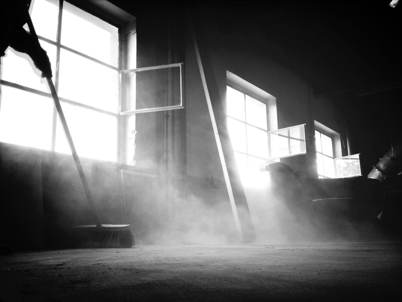 Sweeping dusty room