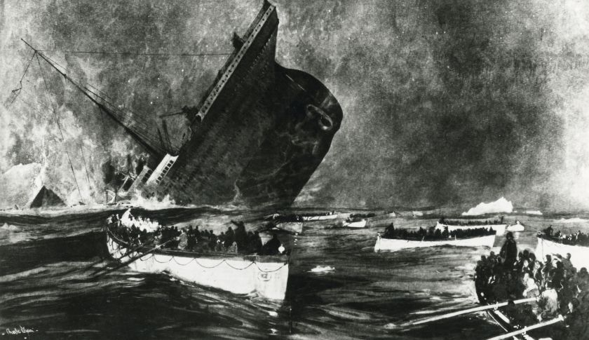 An artist's rendition of the sinking of the Titanic after hitting an iceberg in the Atlantic Ocean in 1912.